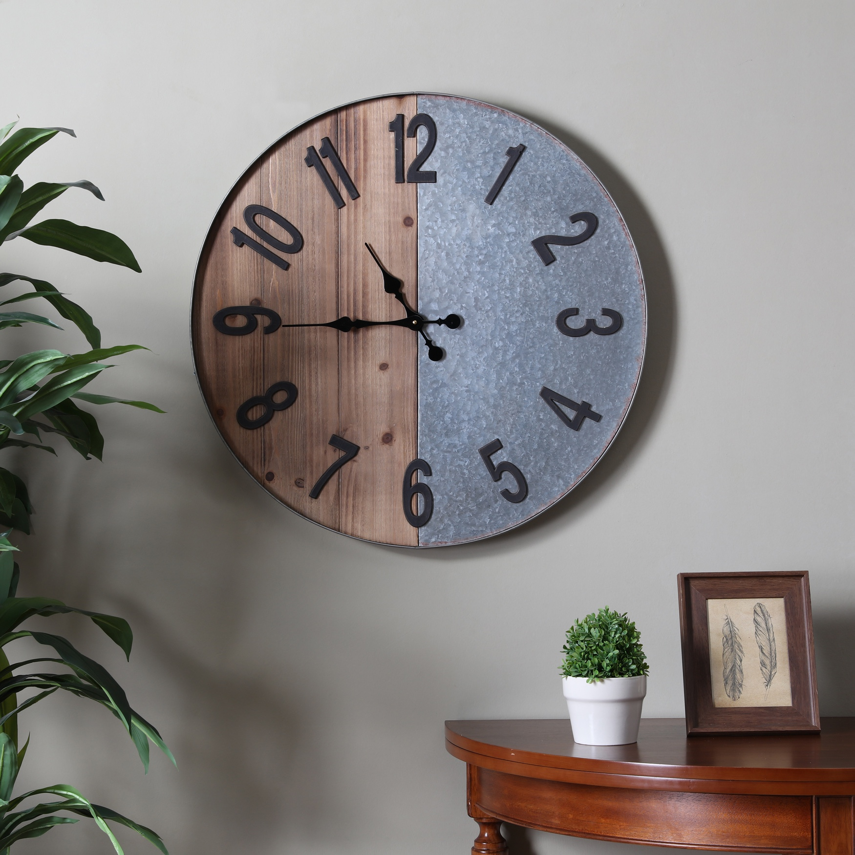 Gallen Industrial Wall Clock, WOOD