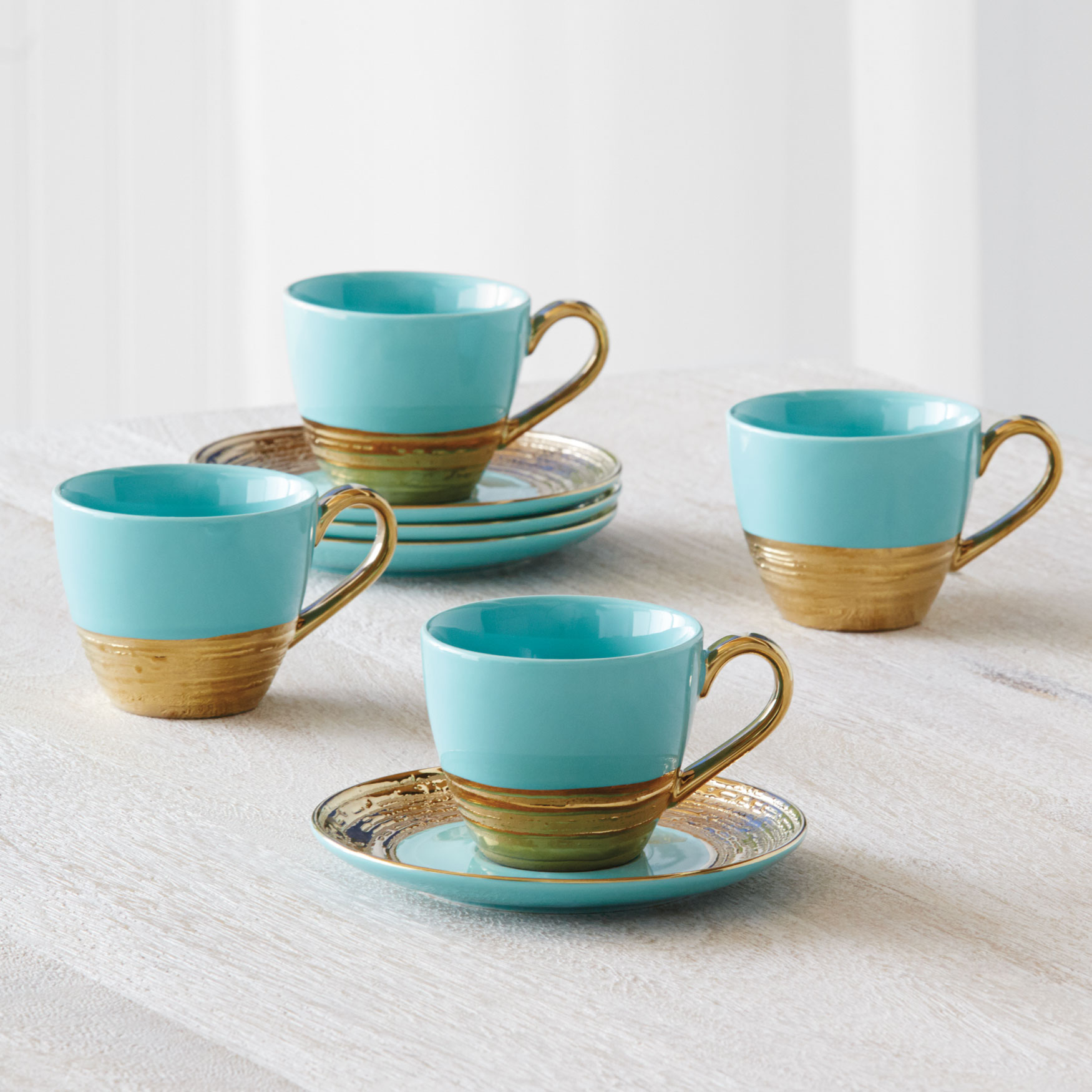 Embossed Gold Cups & Saucers, Set of 4, AQUA