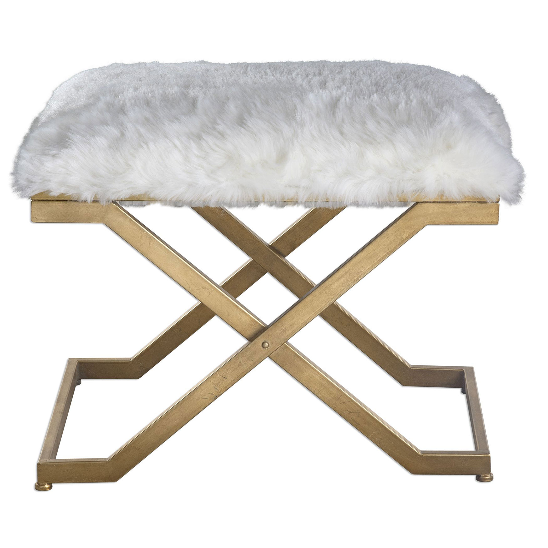 Farran Fur Small Bench, WHITE