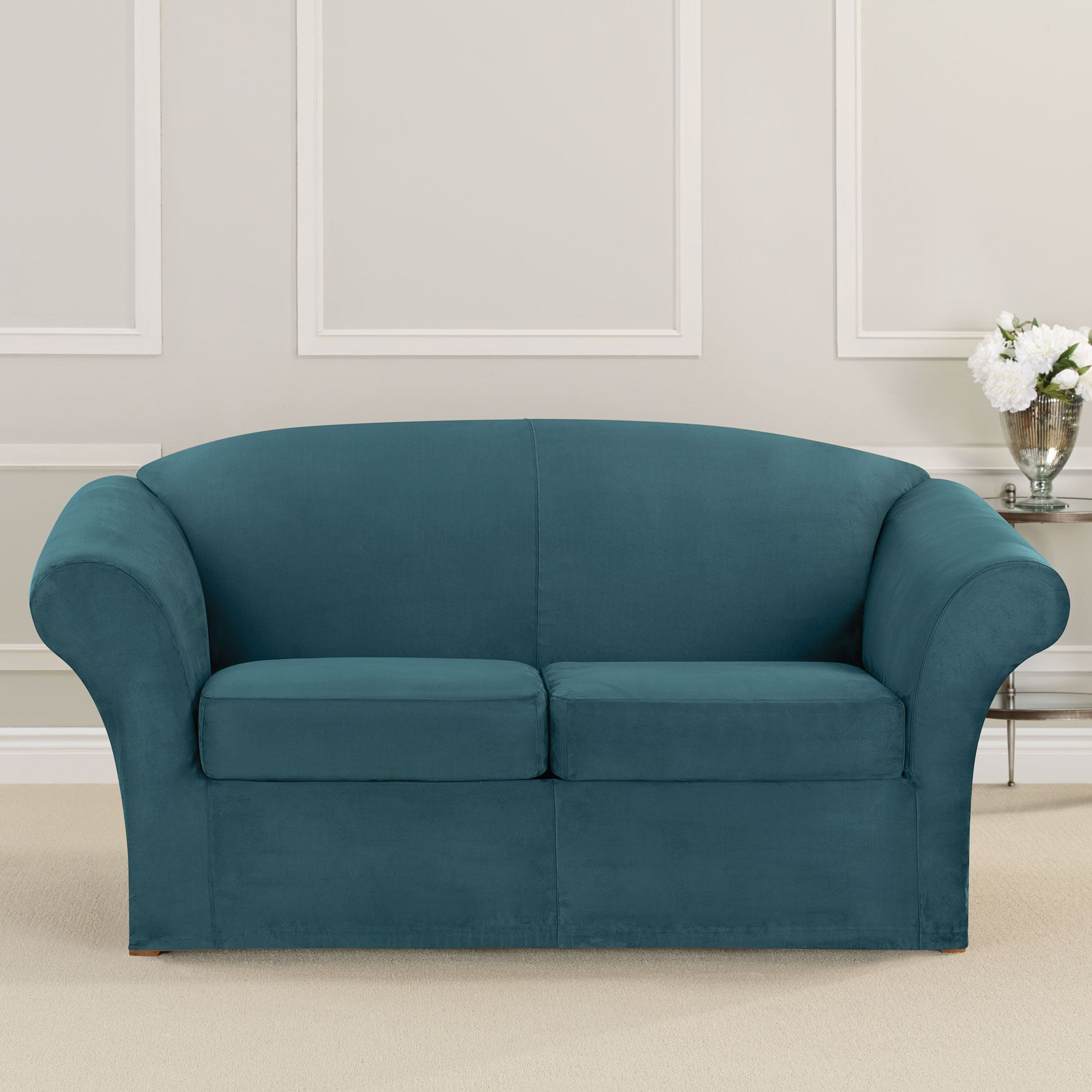 Ultimate Stretch Faux Suede 2 Seat Loveseat Cushion