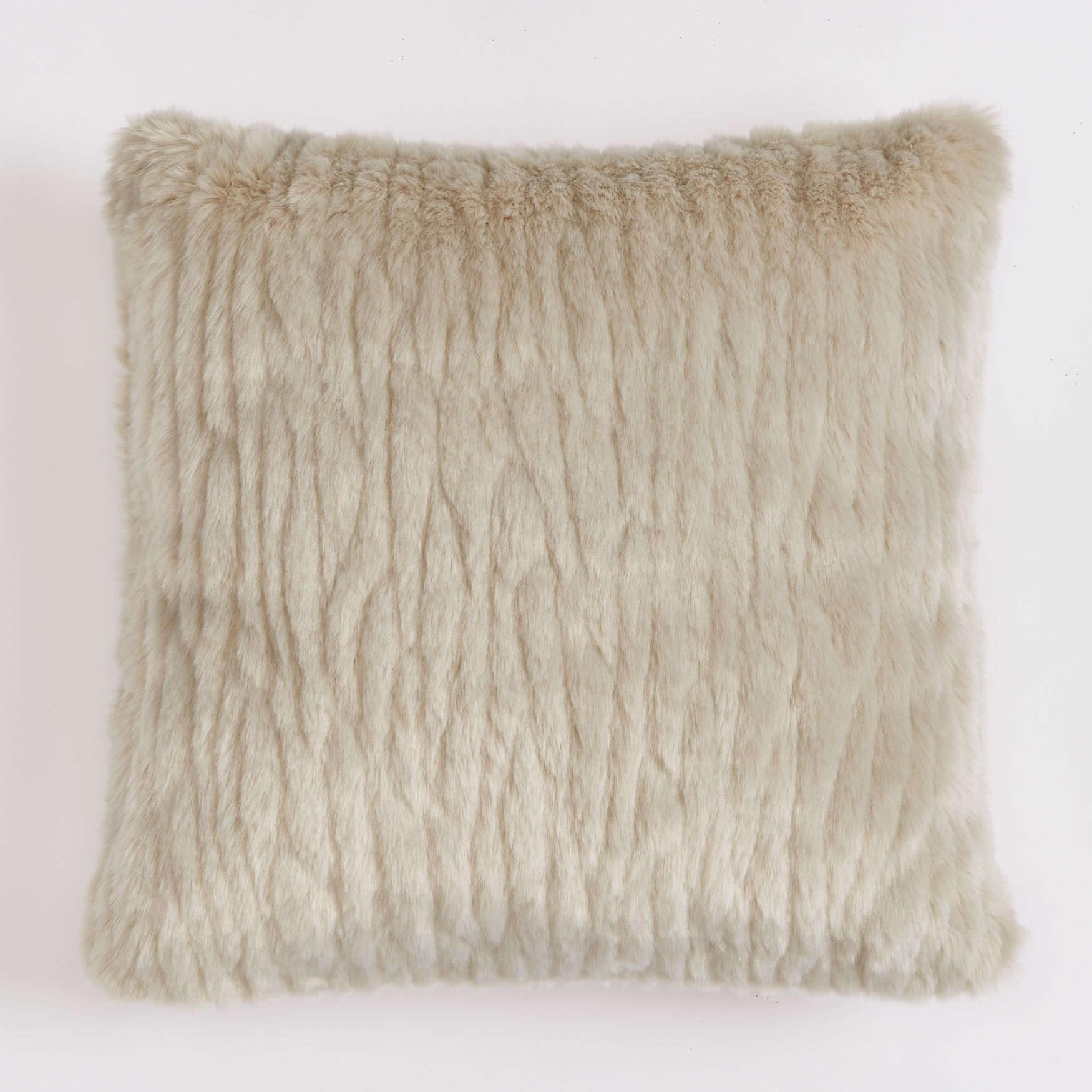 "Textured Faux Fur 18"" Sq. Pillow , GRAY"