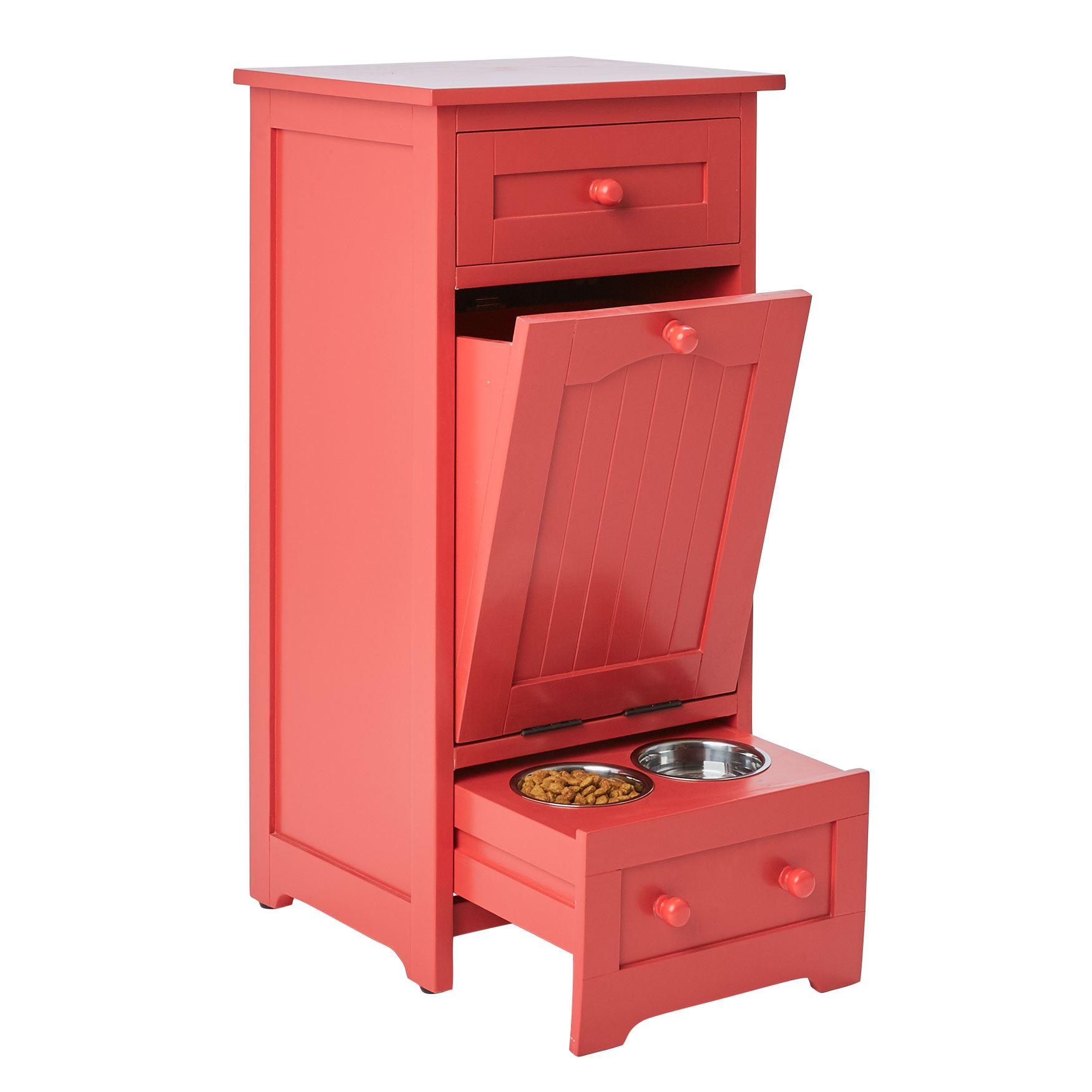 Pet food storage cabinet paprika