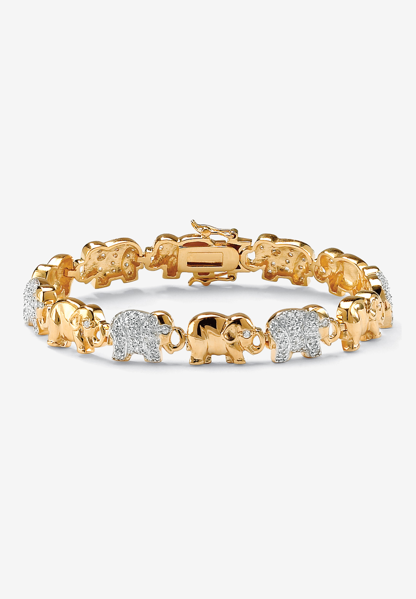 Gold-Plated Round Elephant Charm Bracelet Cubic Zirconia, GOLD