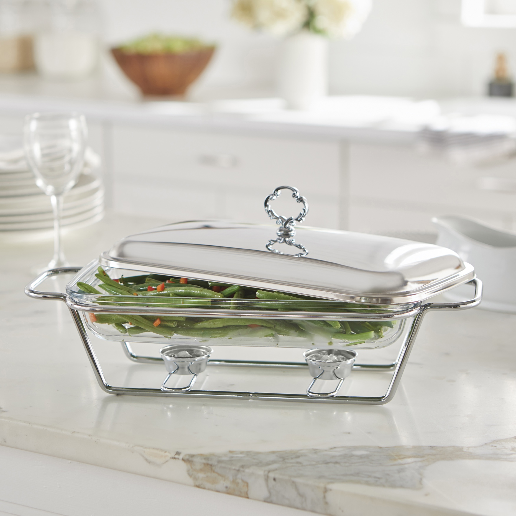 2.3-Qt. Rectangular Glass Chafing Dish, STAINLESS