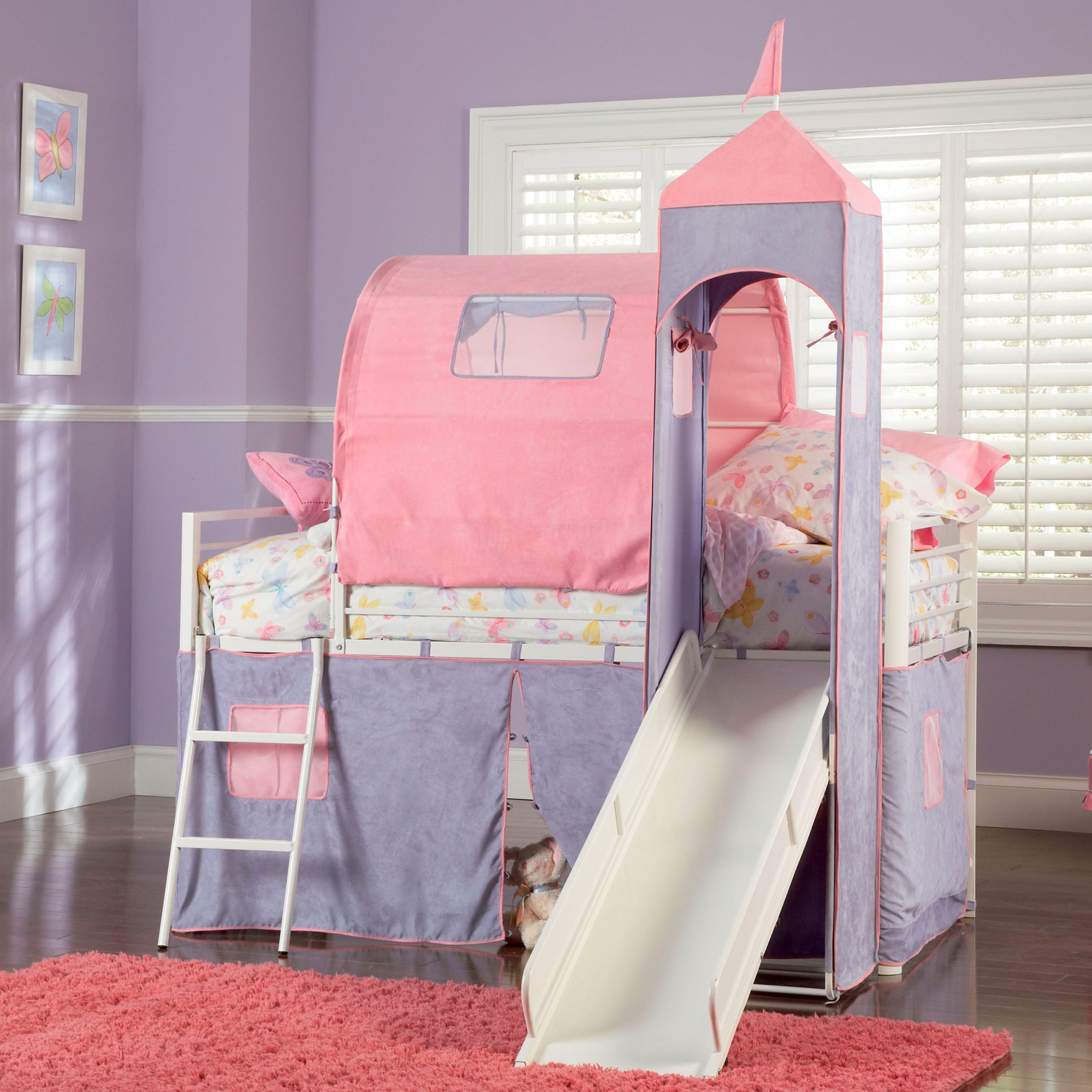 Princess Castle Twin Size Tent Bunk Bed with Slide, WHITE