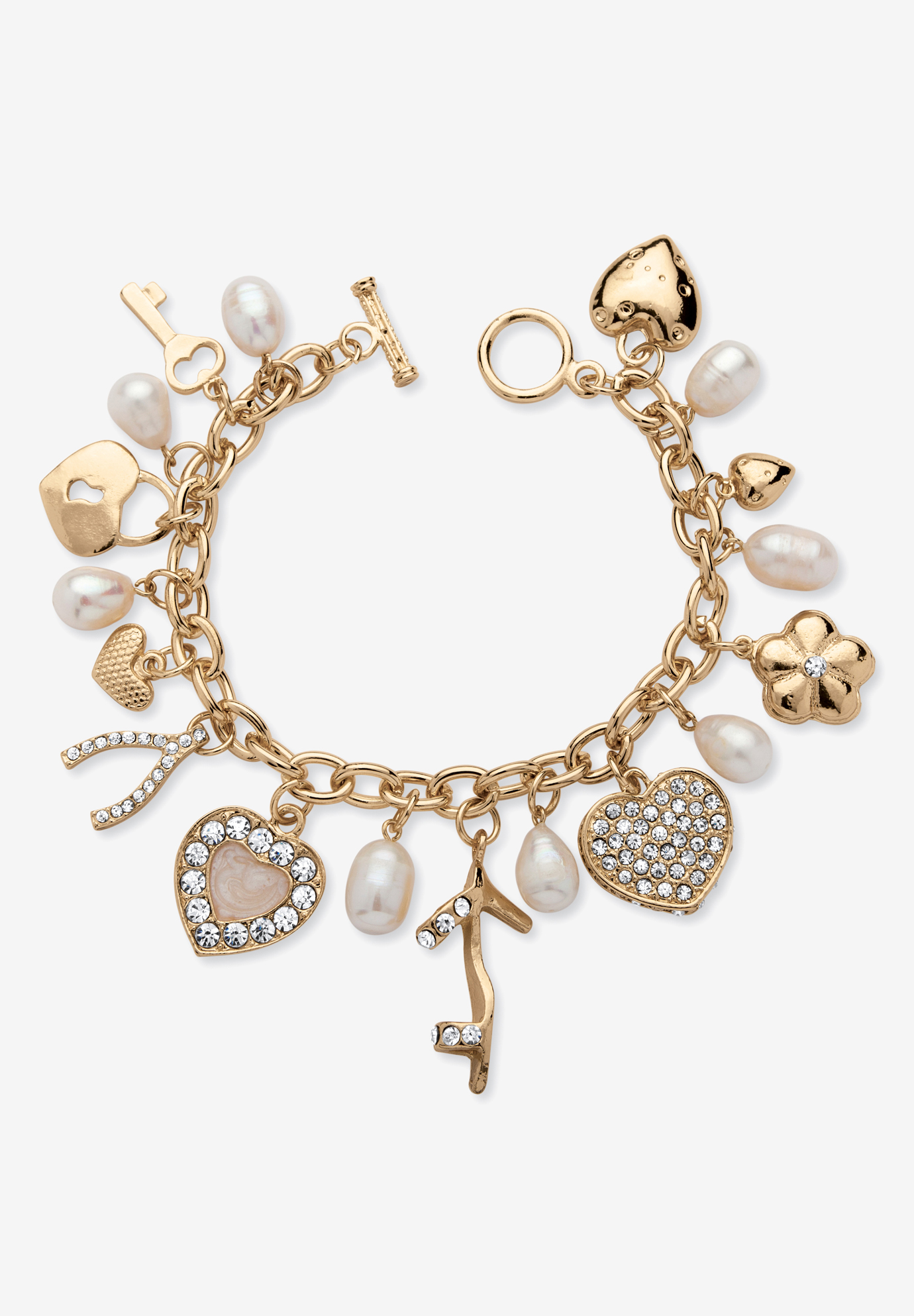 "Gold Tone Charm Bracelet Crystal and Cultured Freshwater Pearl 8"", CRYSTAL"