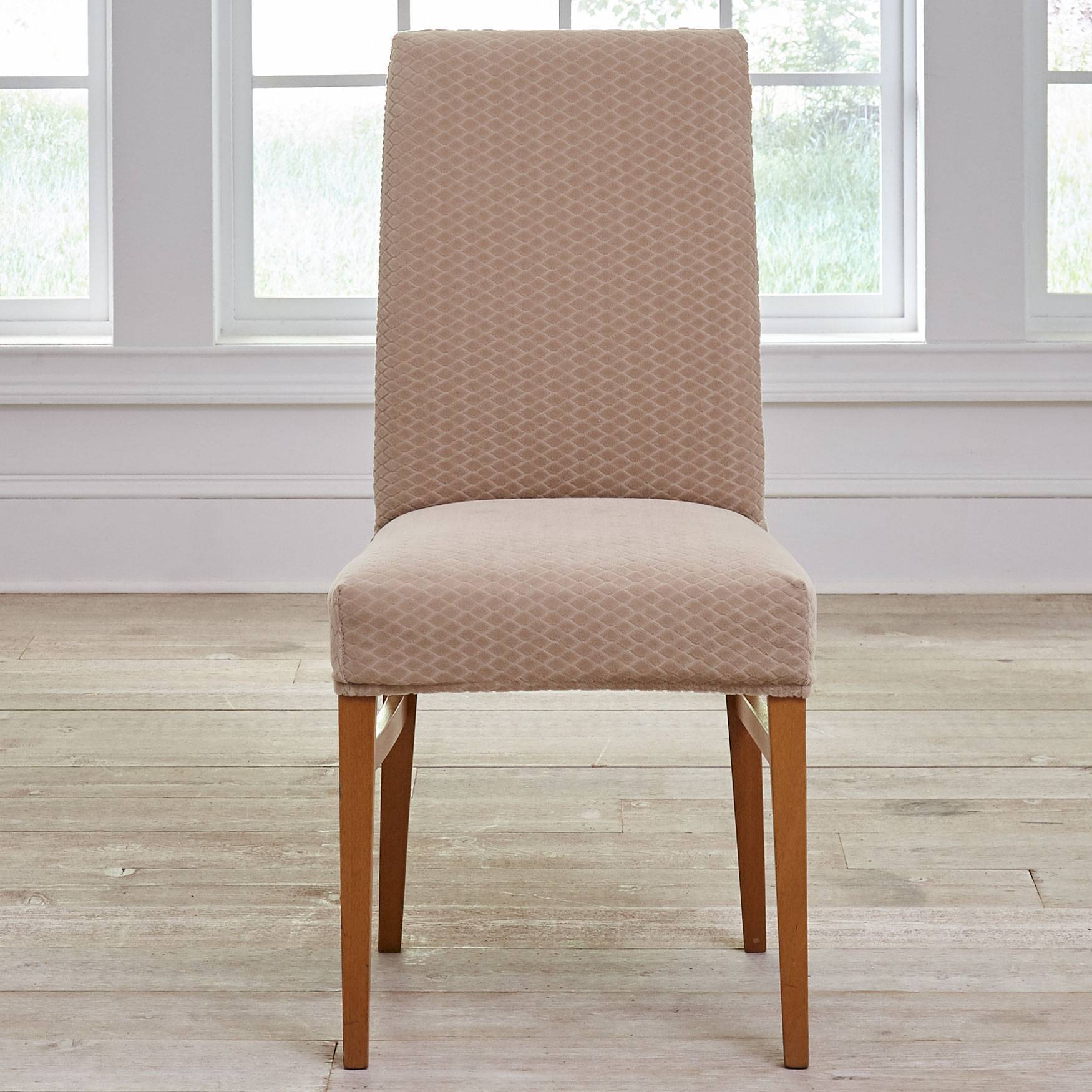 BH Studio® Stretch Diamond Dining Chair Slipcover, LIGHT TAUPE