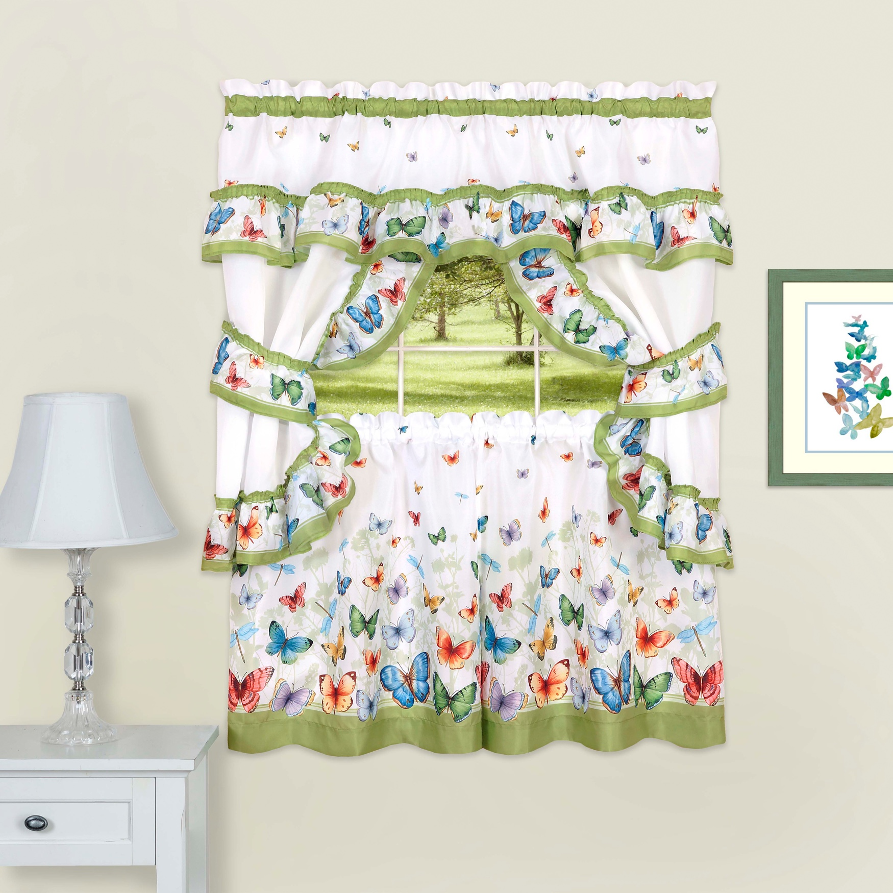 Butterflies Printed Cottage Window Curtain Set,