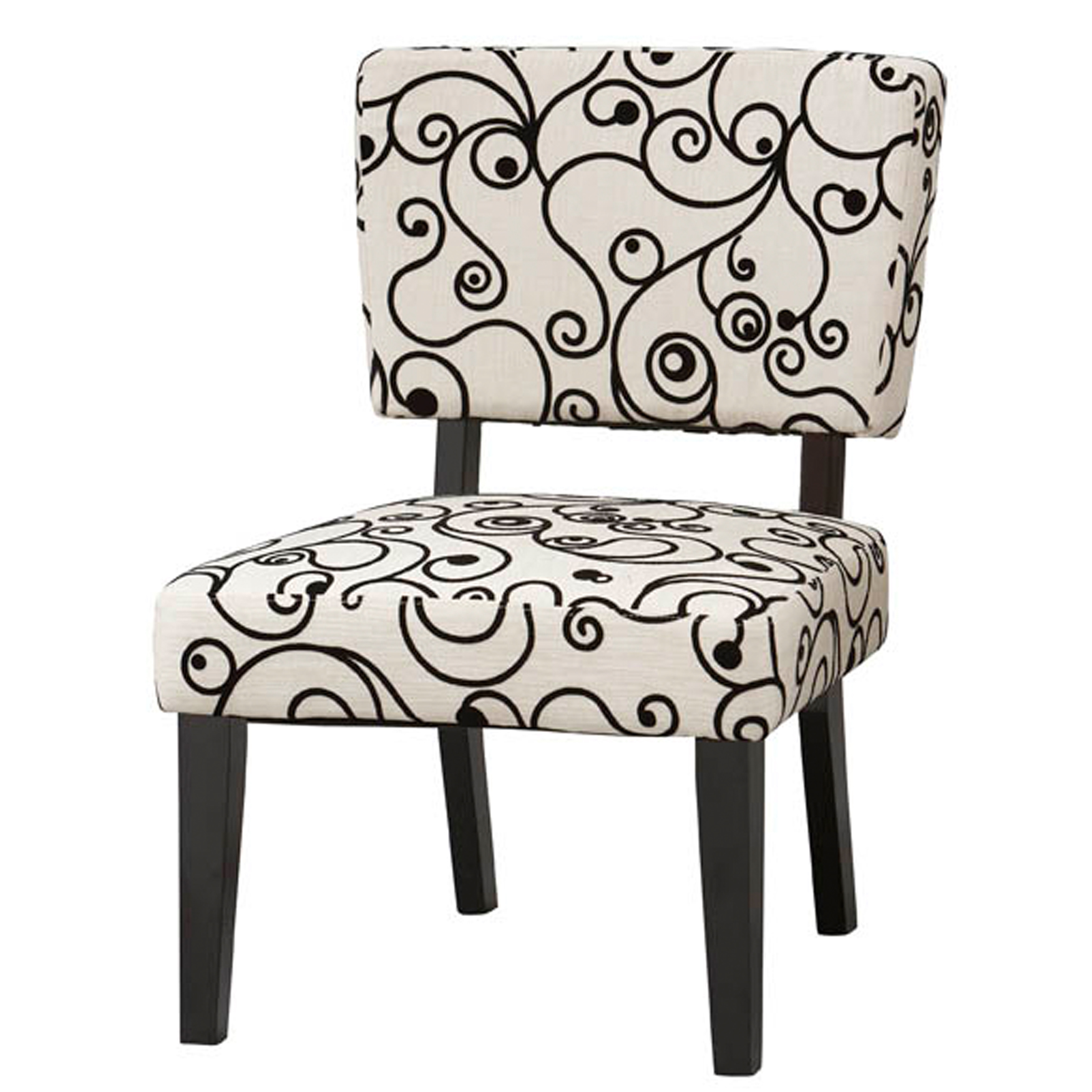Taylor Accent Chair - White Black Circles, WHITE BLACK