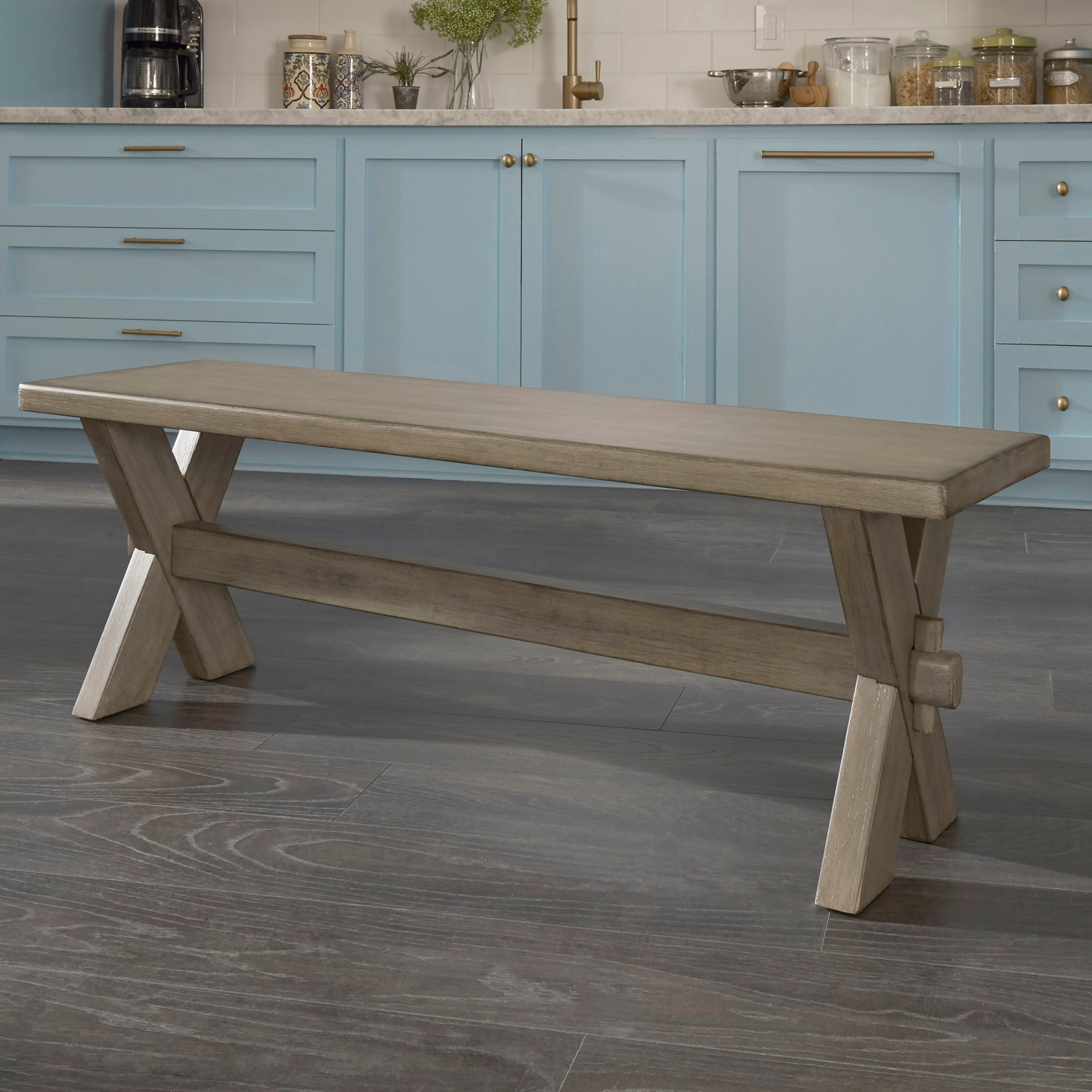 Mountain Lodge Trestle Bench by Home Styles, MULTI GRAY