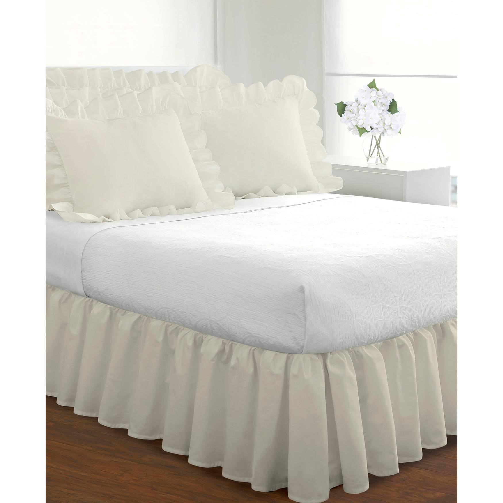 Fresh Ideas Ruffled 2-Pack Poplin Pillow Sham Set,