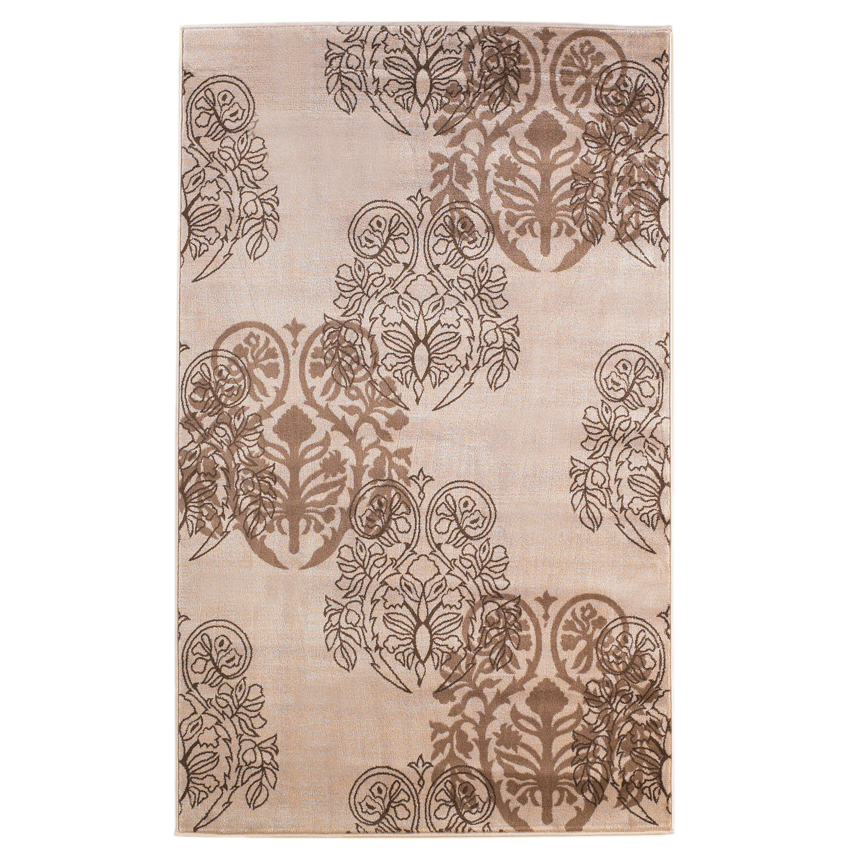 Milan Ivory/Brown 5'X8' Area Rug, IVORY BROWN