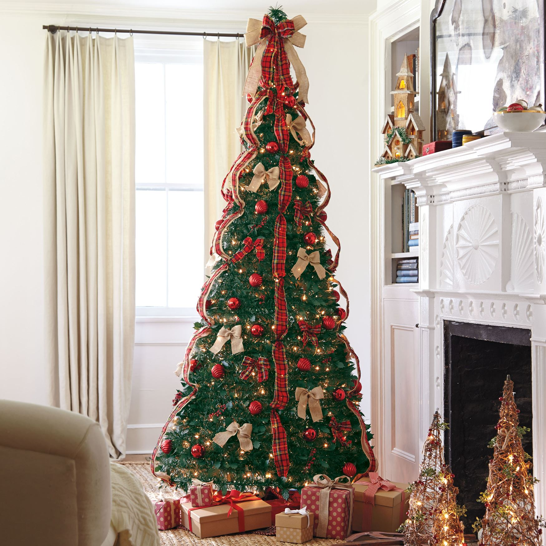 Flat-To-Fabulous Fully Decorated Pre-Lit 7½' Christmas ...