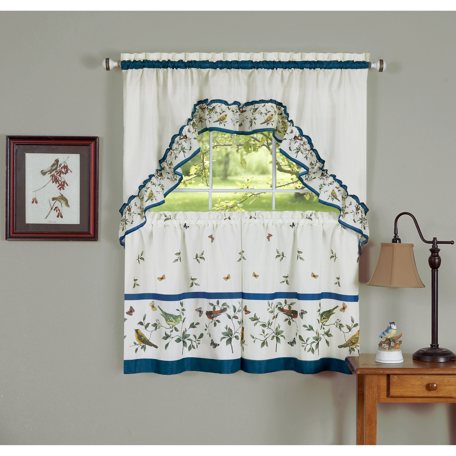 Love Birds Printed Tier and Swag Window Curtain Set,