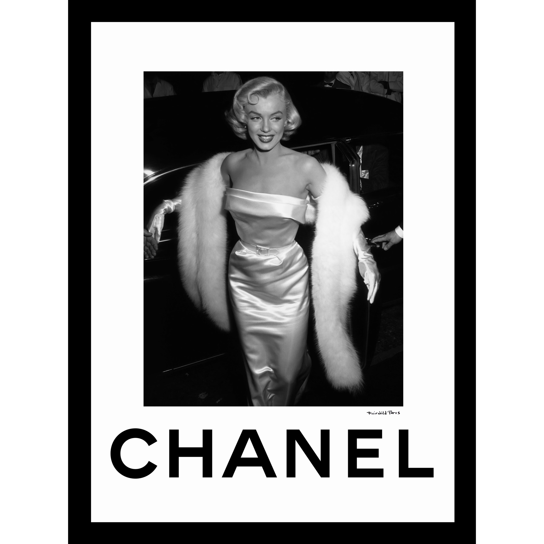 Chanel Marilyn Monroe Glamour 14x18 Framed Print, BLACK WHITE