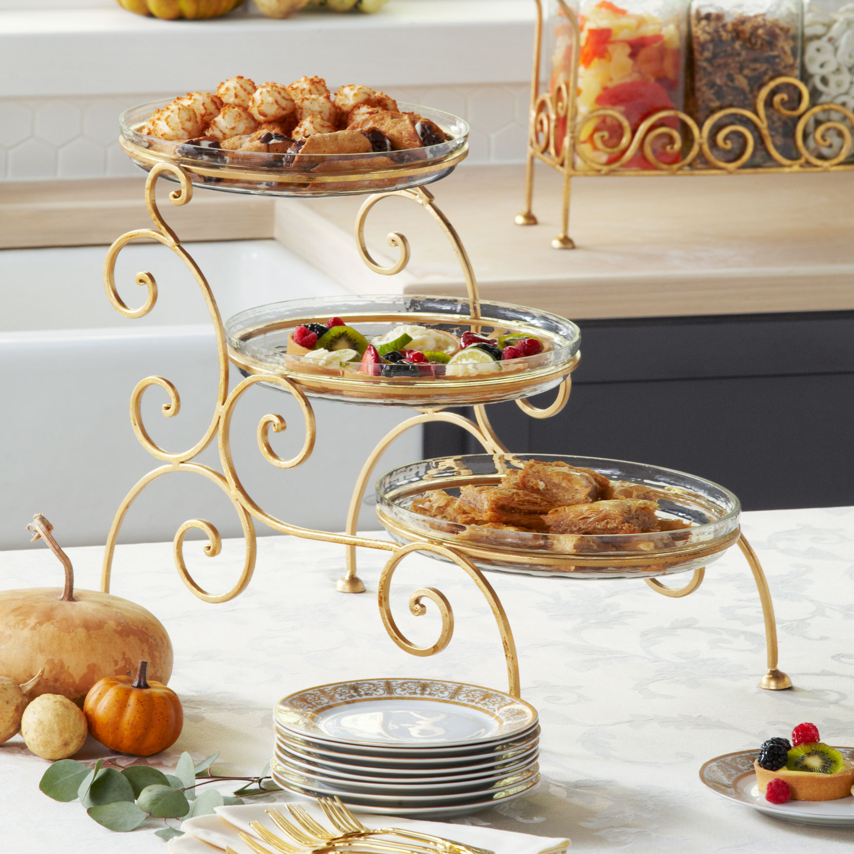3-Tier Server with Bowls, GOLD