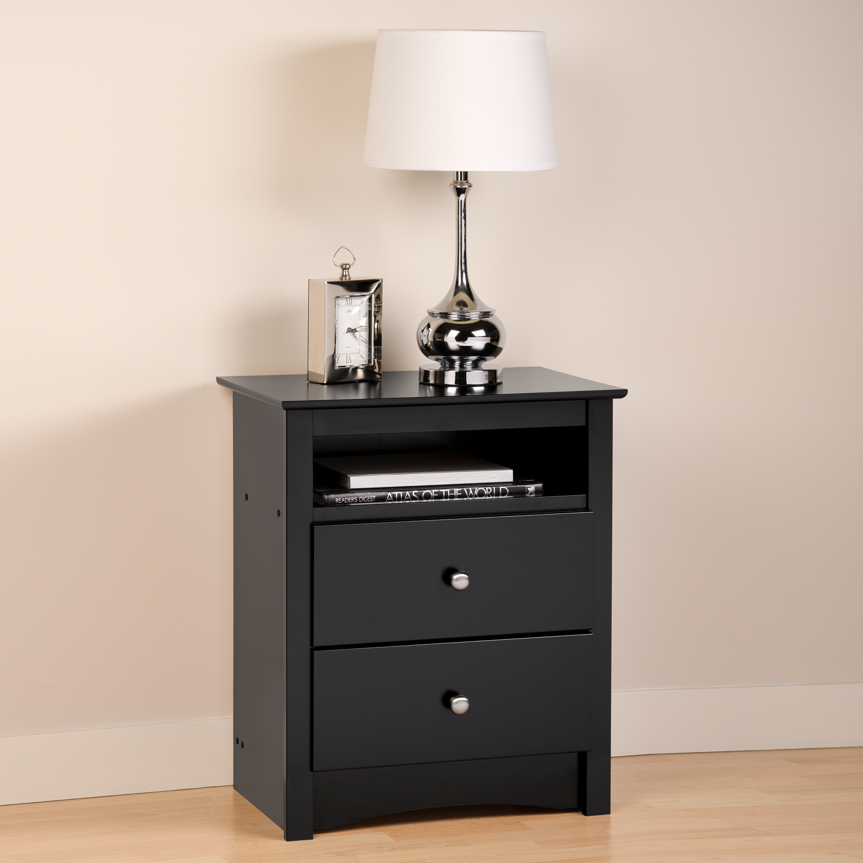 Sonoma Black 2-Drawer Tall Night Stand with Open Cubbie, BLACK