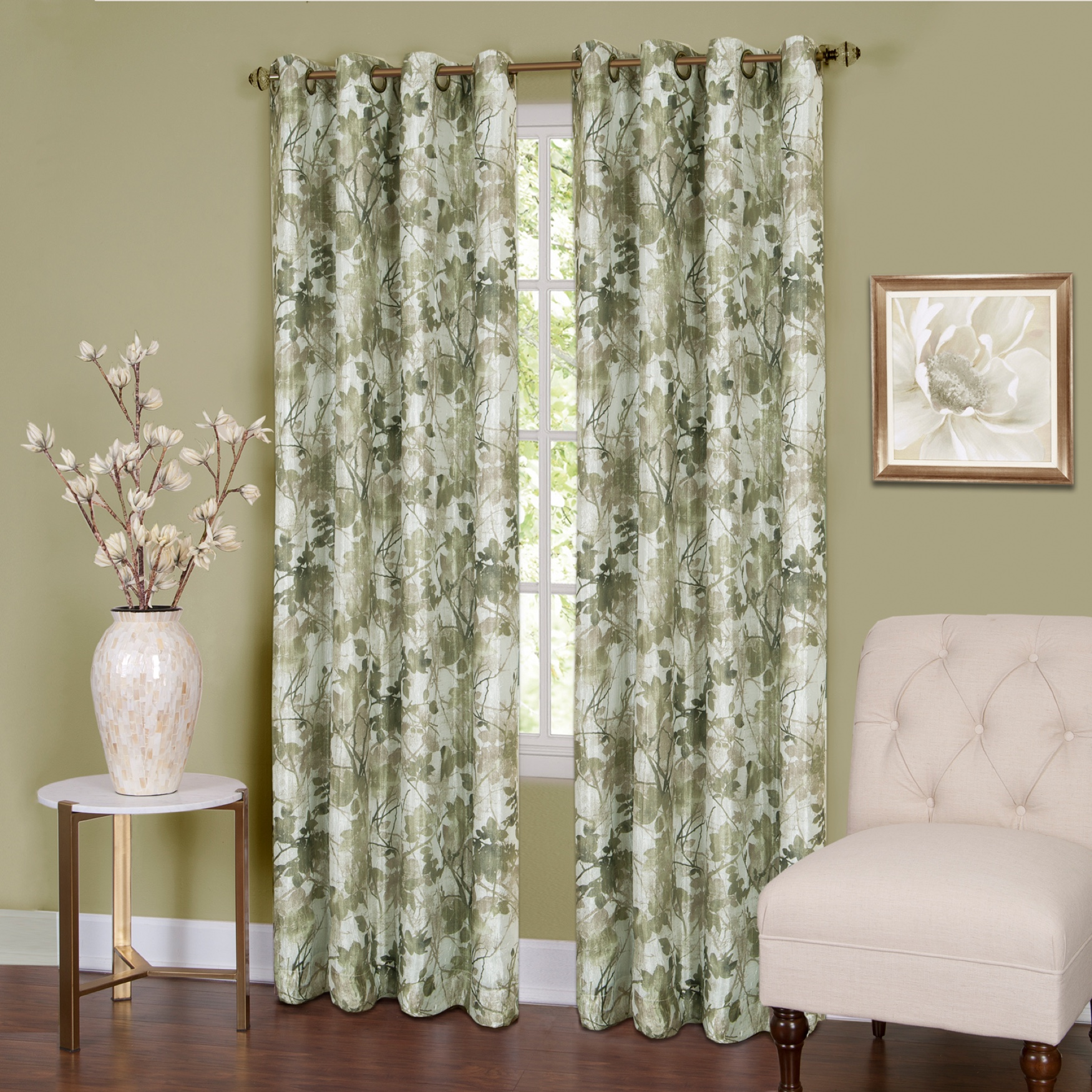 Tranquil Lined Grommet Window Curtain Panel,