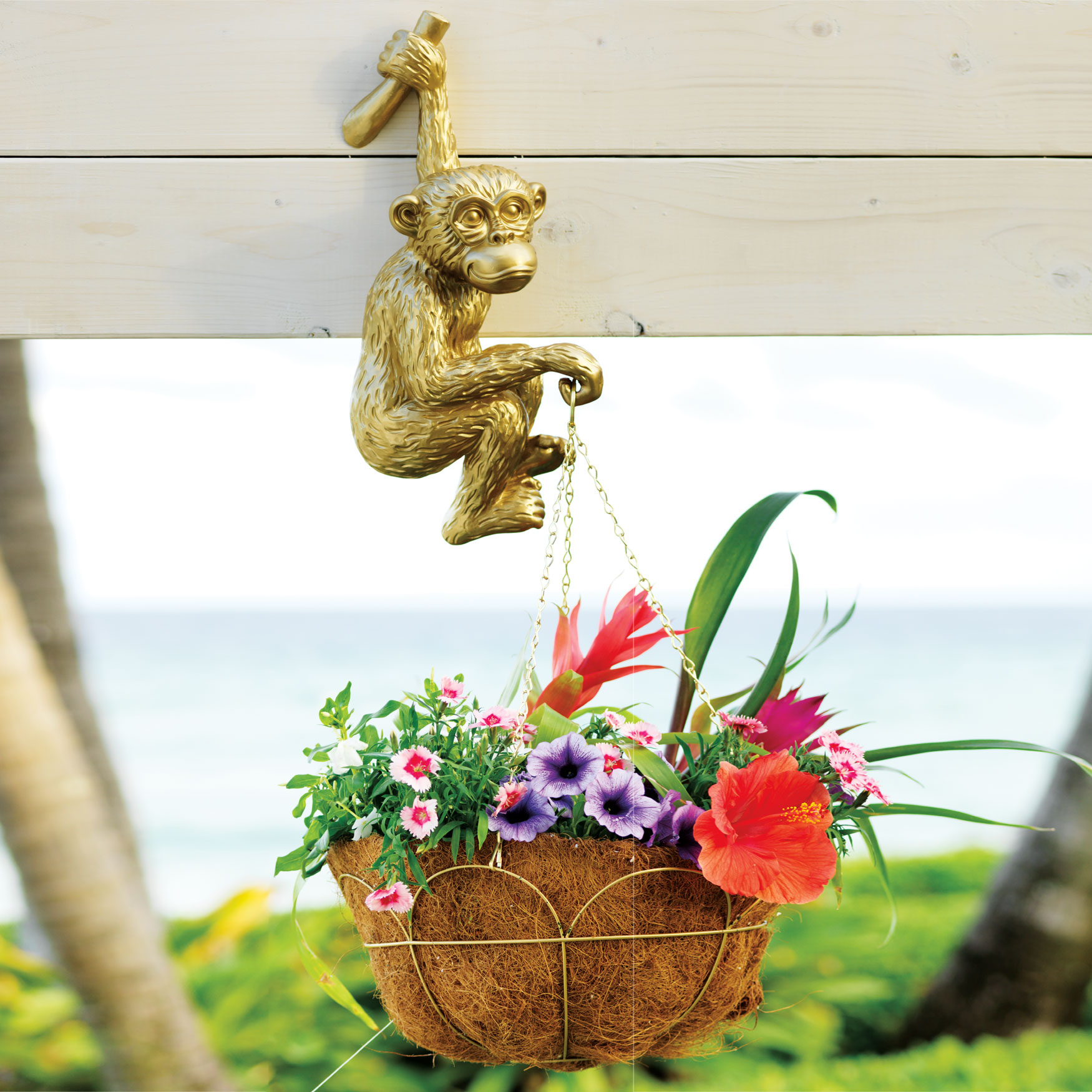 Hand-Painted Hanging Monkey Planter, GOLD