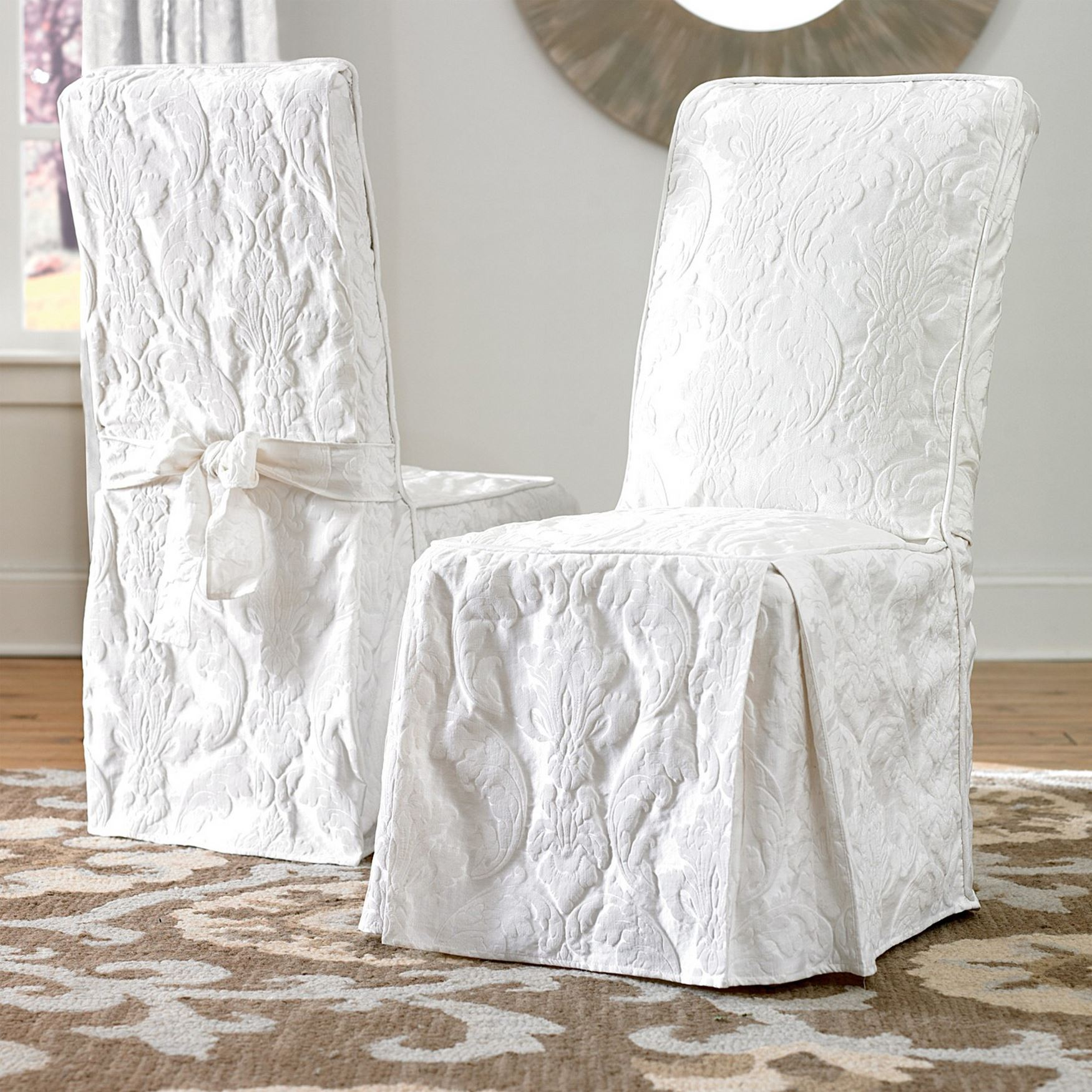 Cover Dining Room Chairs: Matelasse Long Dining Room Chair Cover