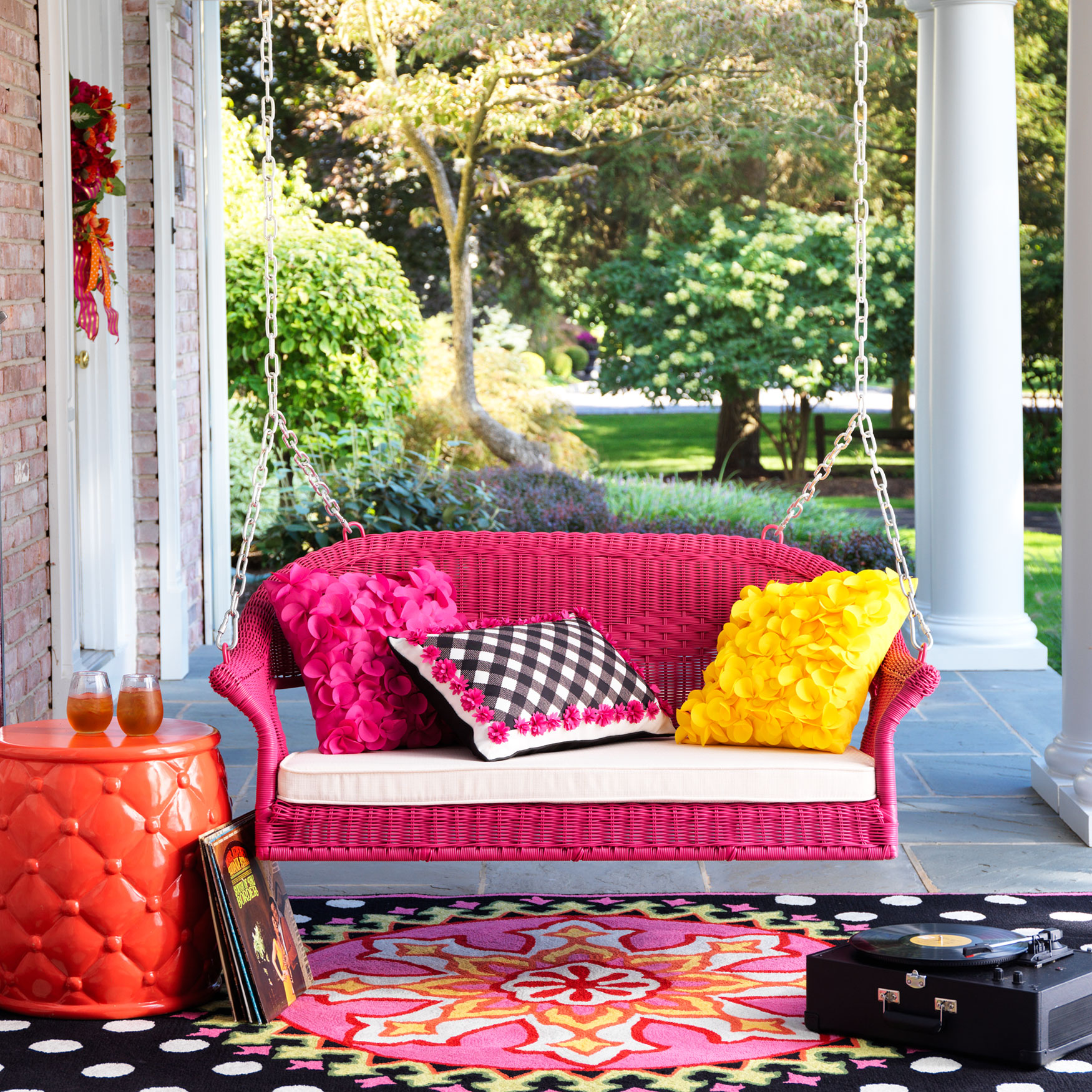 Roma Resin Wicker Porch Swing Plus Size Outdoor Chairs Brylane Home