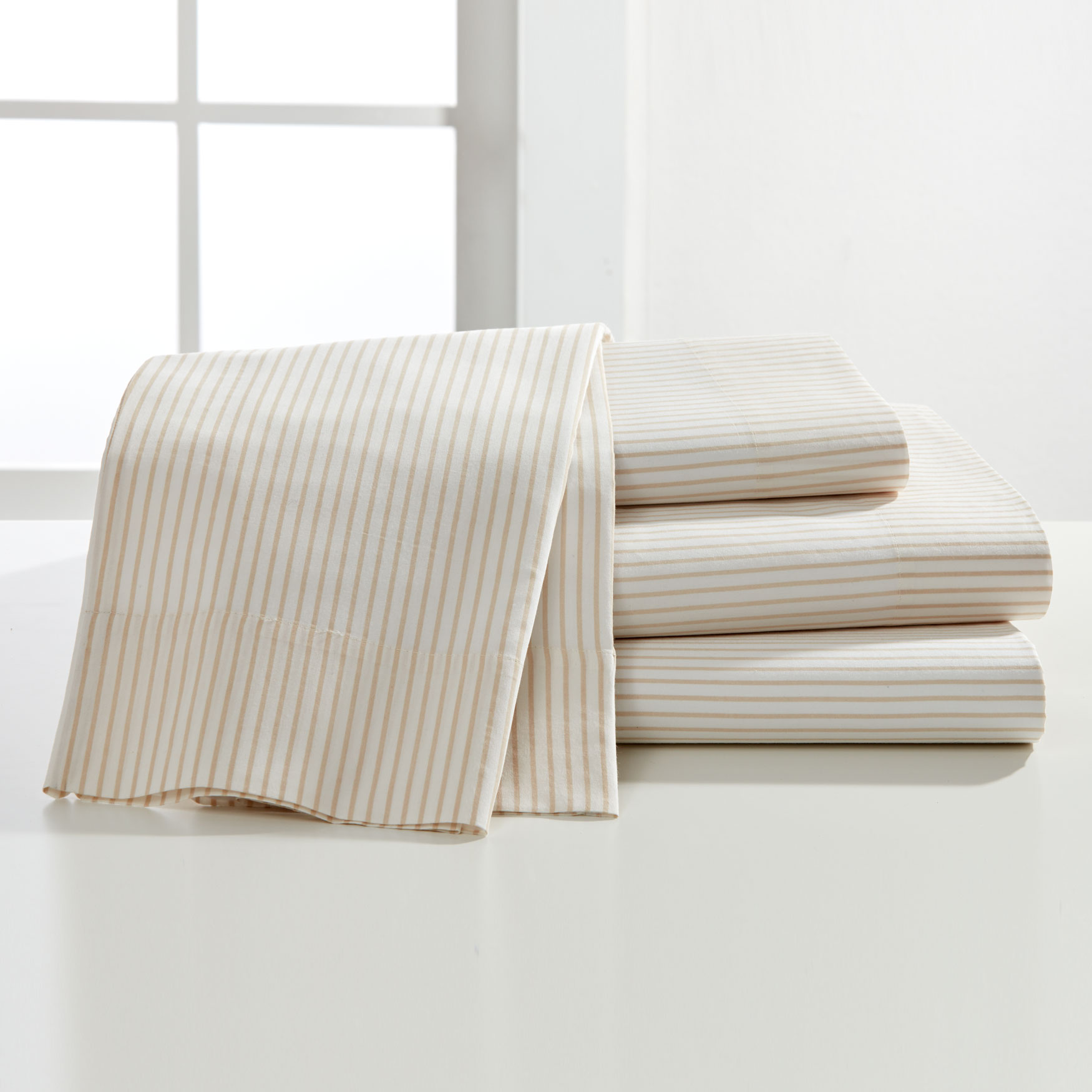 200-TC Percale Classic Stripe Sheet Set,