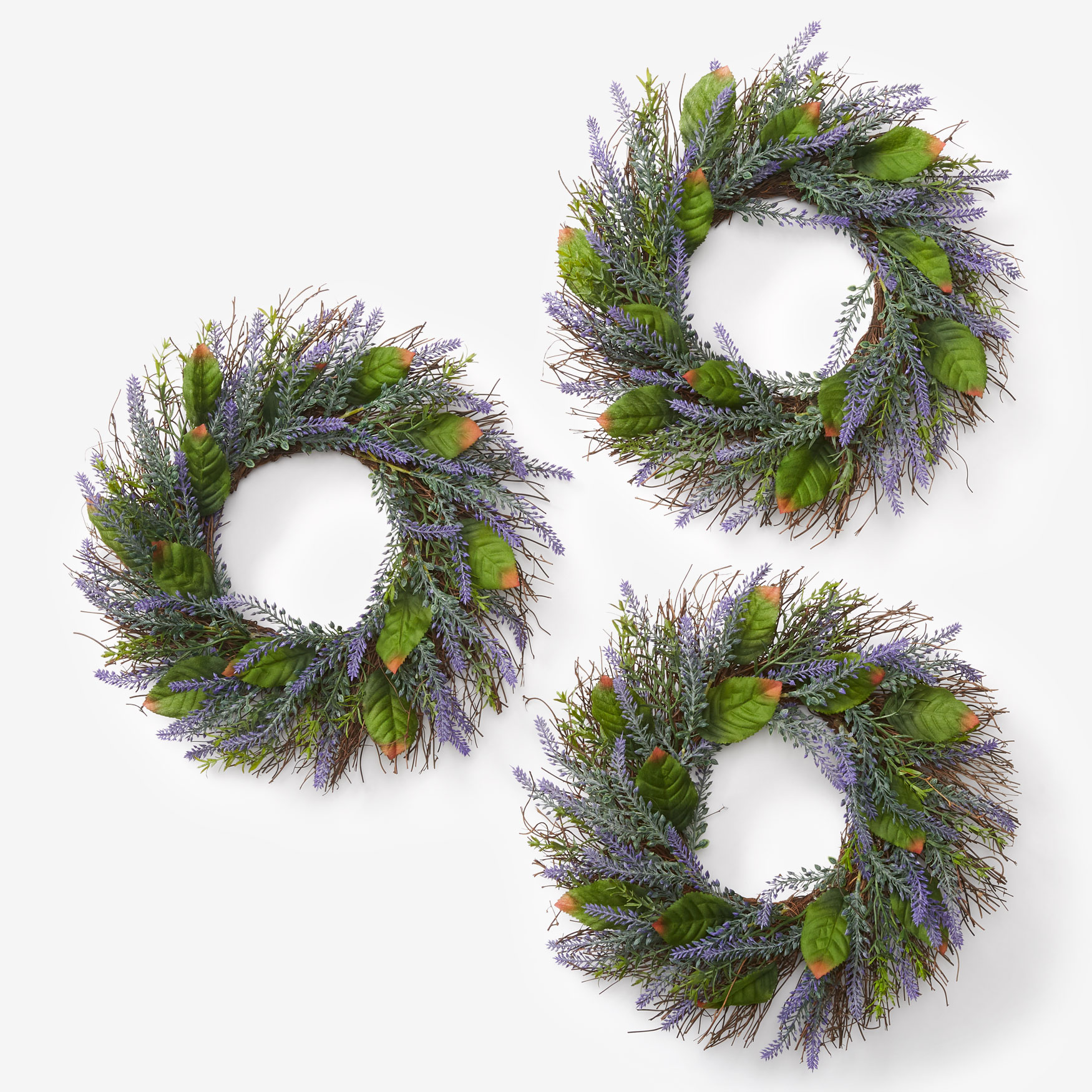 Set of 3 Mini Lavender Wreaths, PURPLE