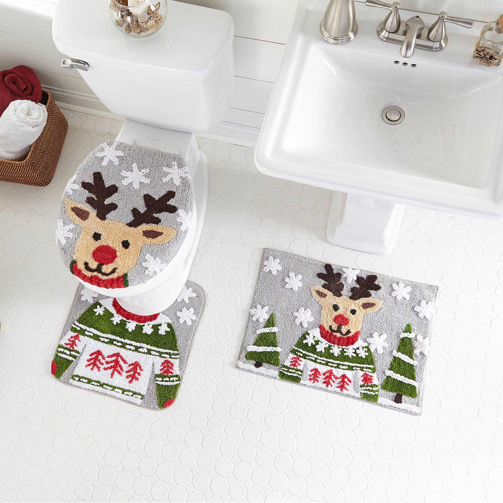3-Pc. Holiday Bath Rug Set, REINDEER