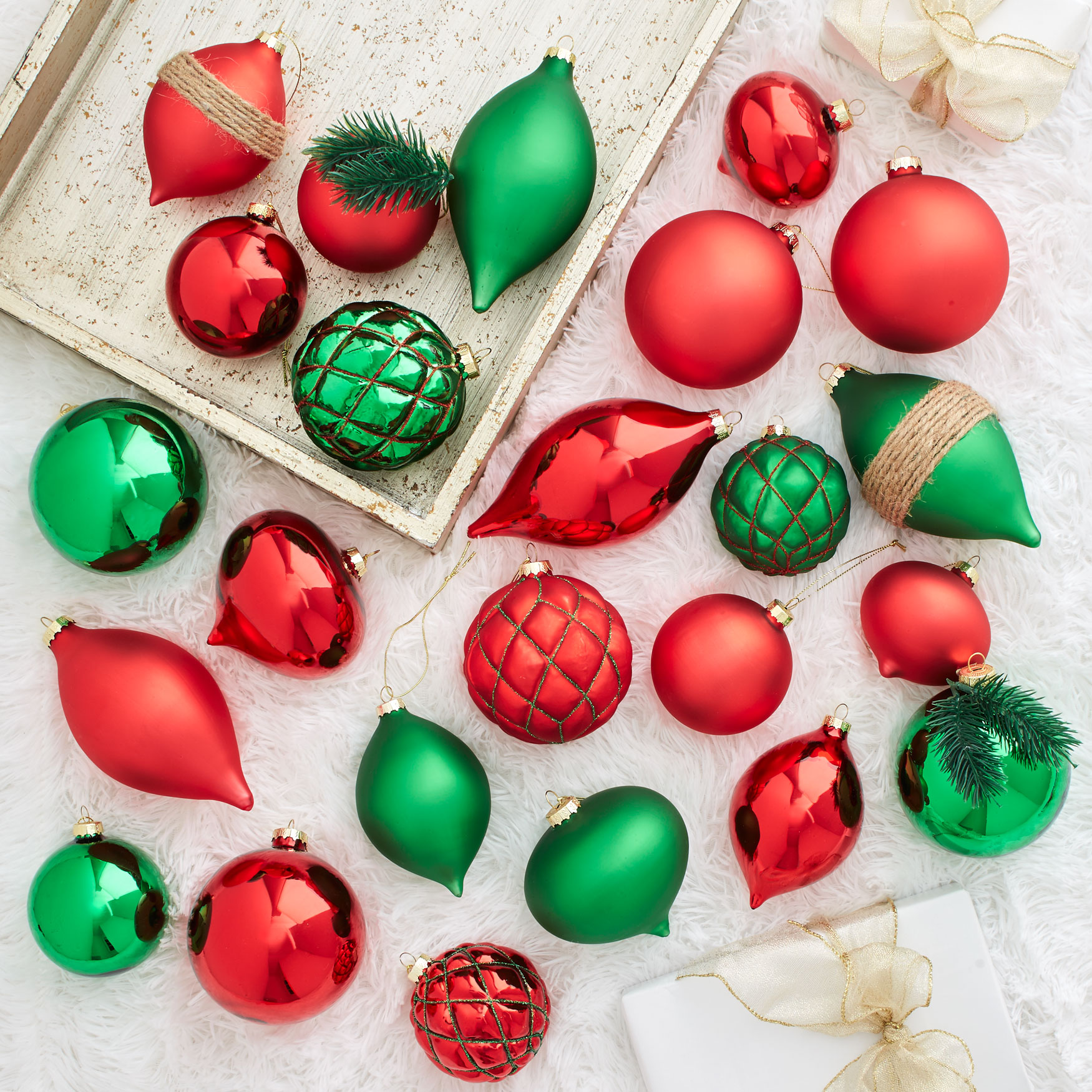 24-Pc. Red & Green Ornament Set, RED GREEN