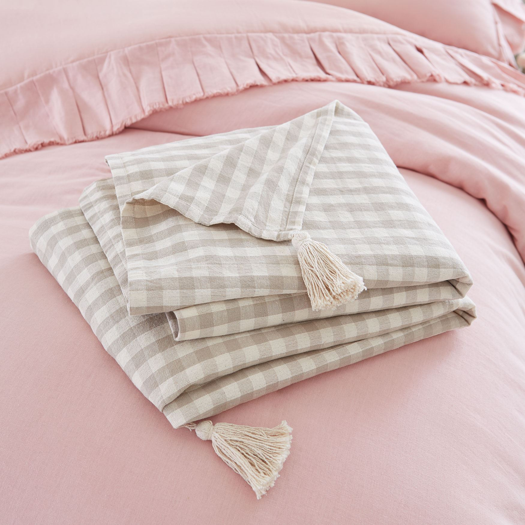 Gingham Throw, TAUPE WHITE