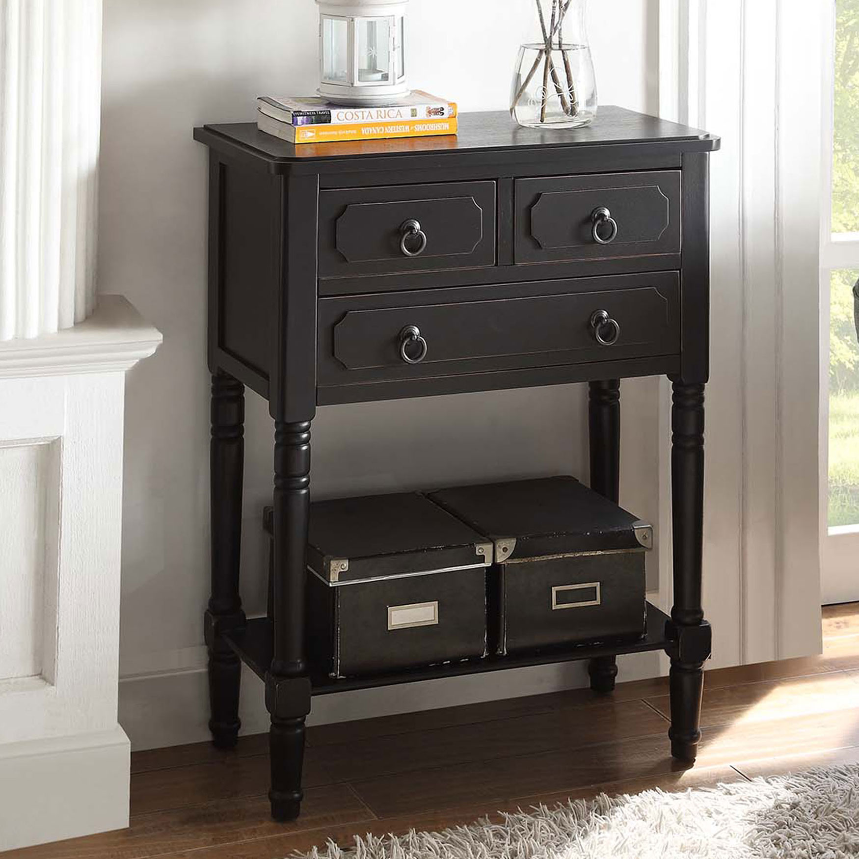 3 Drawer Chest with Open Shelf,