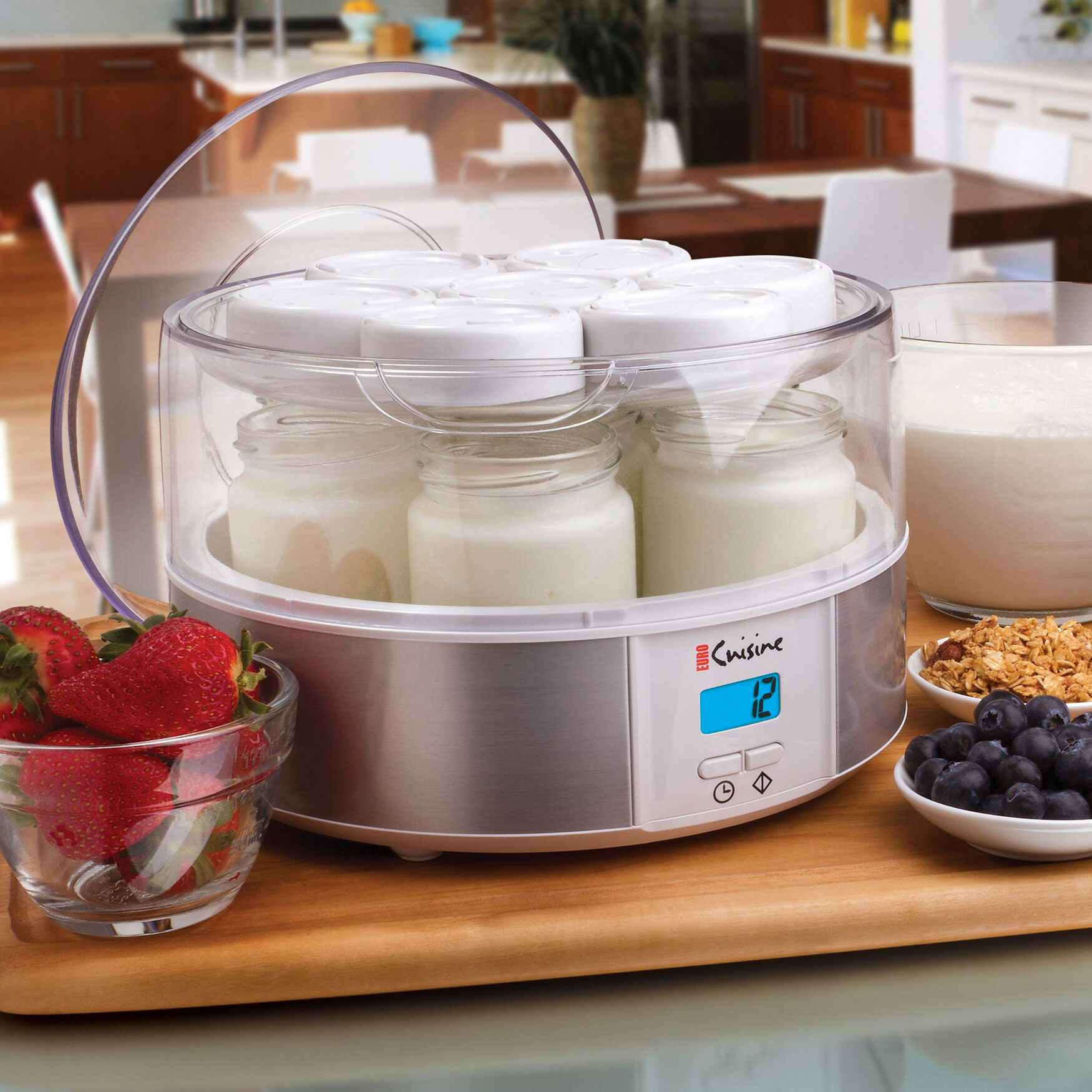 Euro Cuisine Electric Digital Automatic Yogurt Maker with 7 Glass Jars, WHITE