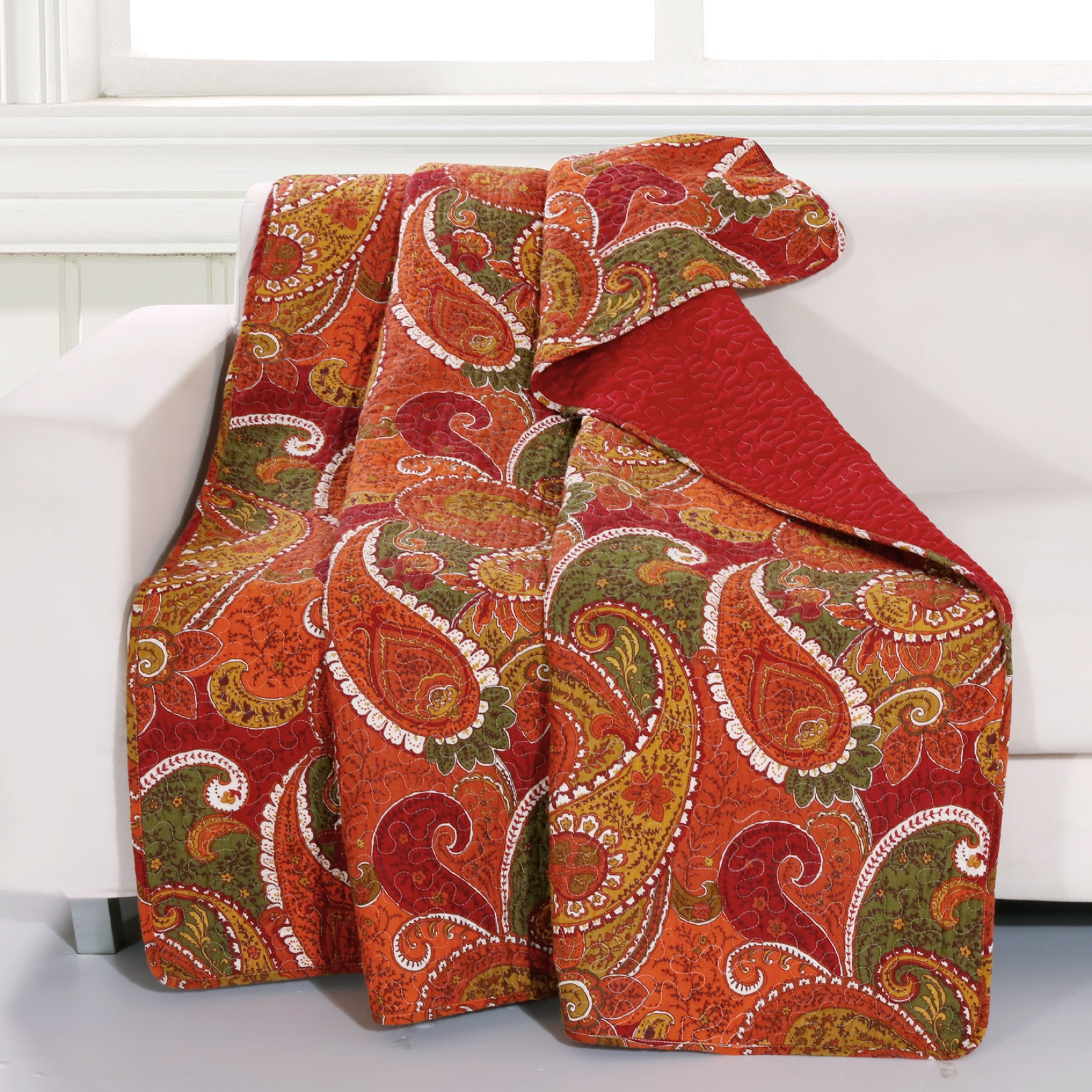 Greenland Home Fashions Tivoli Quilted Throw Blanket, CINNAMON