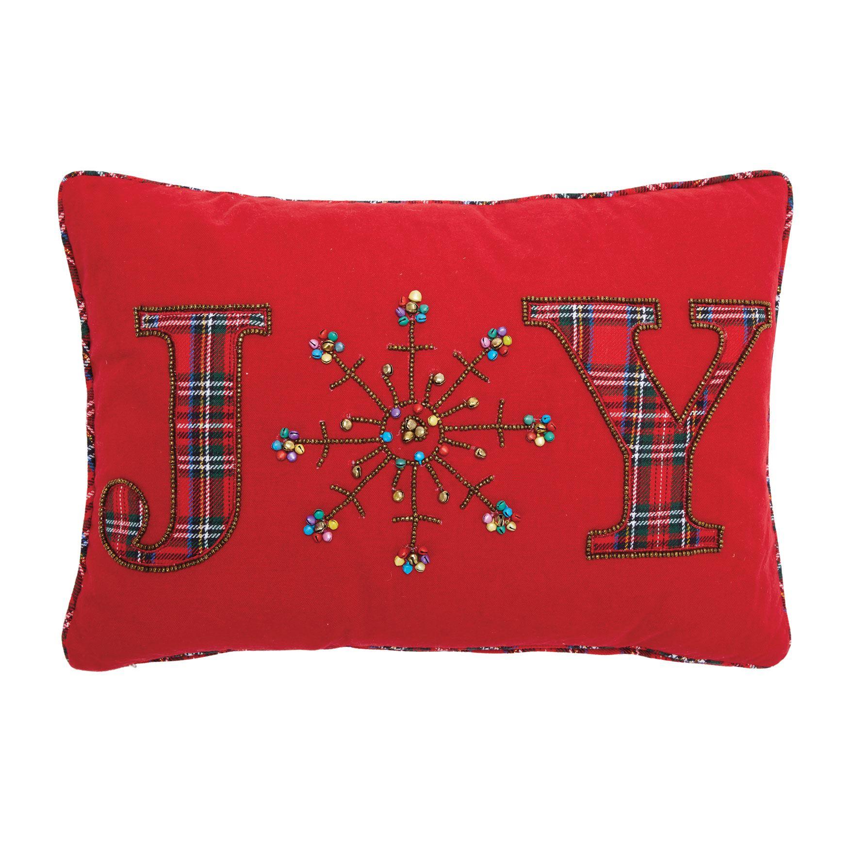 Joy Beaded Holiday Pillow Brylane Home