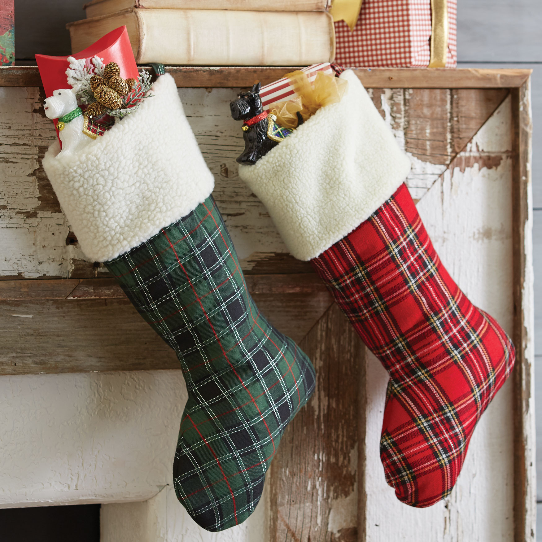 Plaid Stocking, GREEN