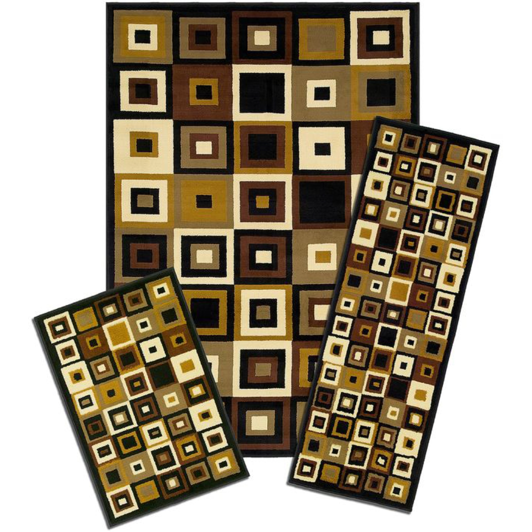 Capri 3-Pc. Rug Set, BROWN