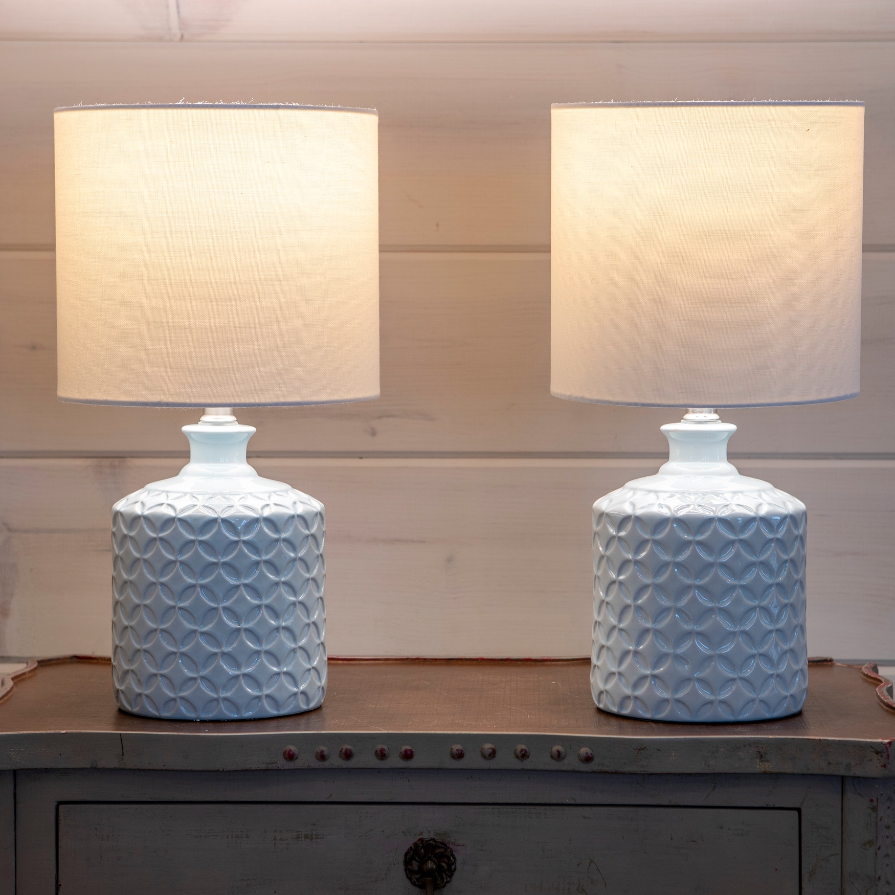 Soft Blue Ceramic 2-Paack LED Table Lamps, SOFT BLUE