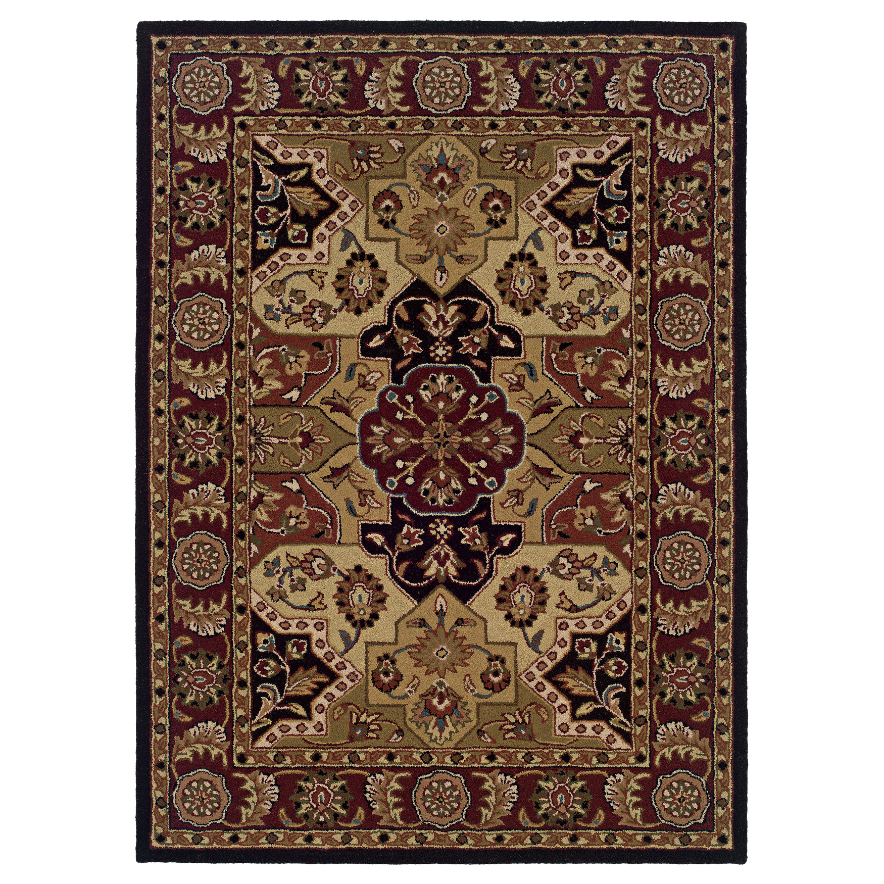 Trio Traditional Multi 8'X10' Area Rug, BURGUNDY