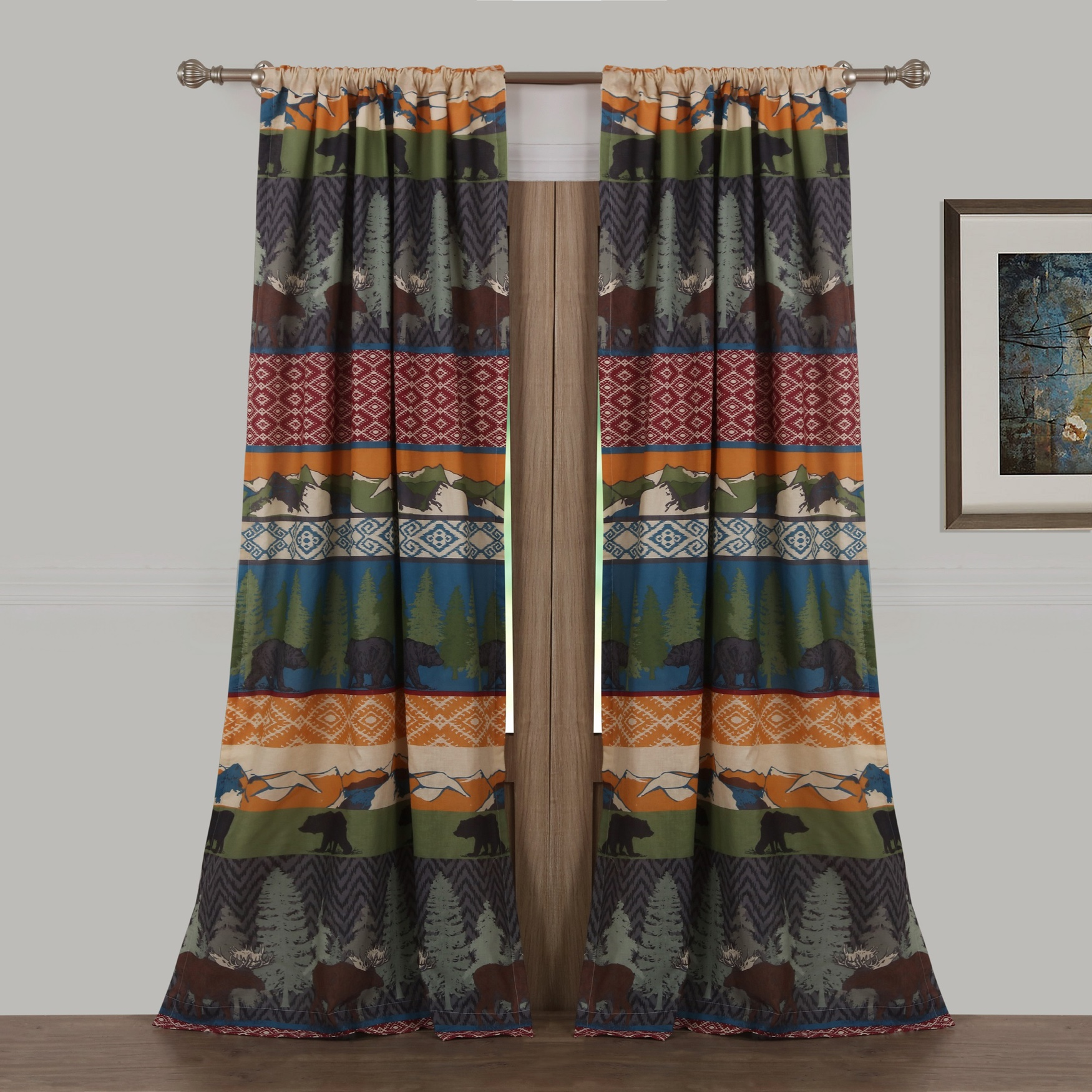 Black Bear Lodge Curtain Panel Pair by Greenland Home Fashions, MULTI