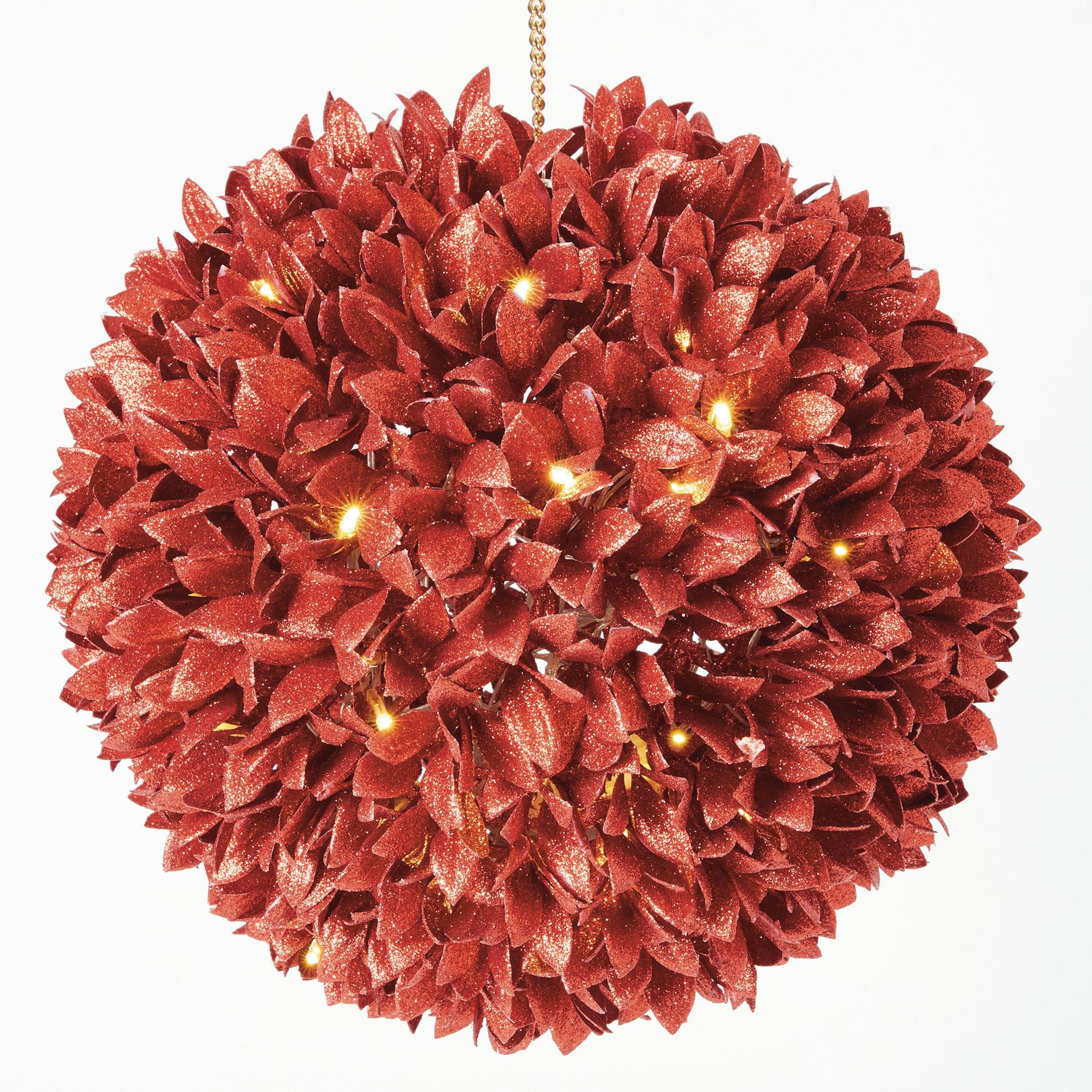 12' Sparkle Leaf Kissing Ball, RED