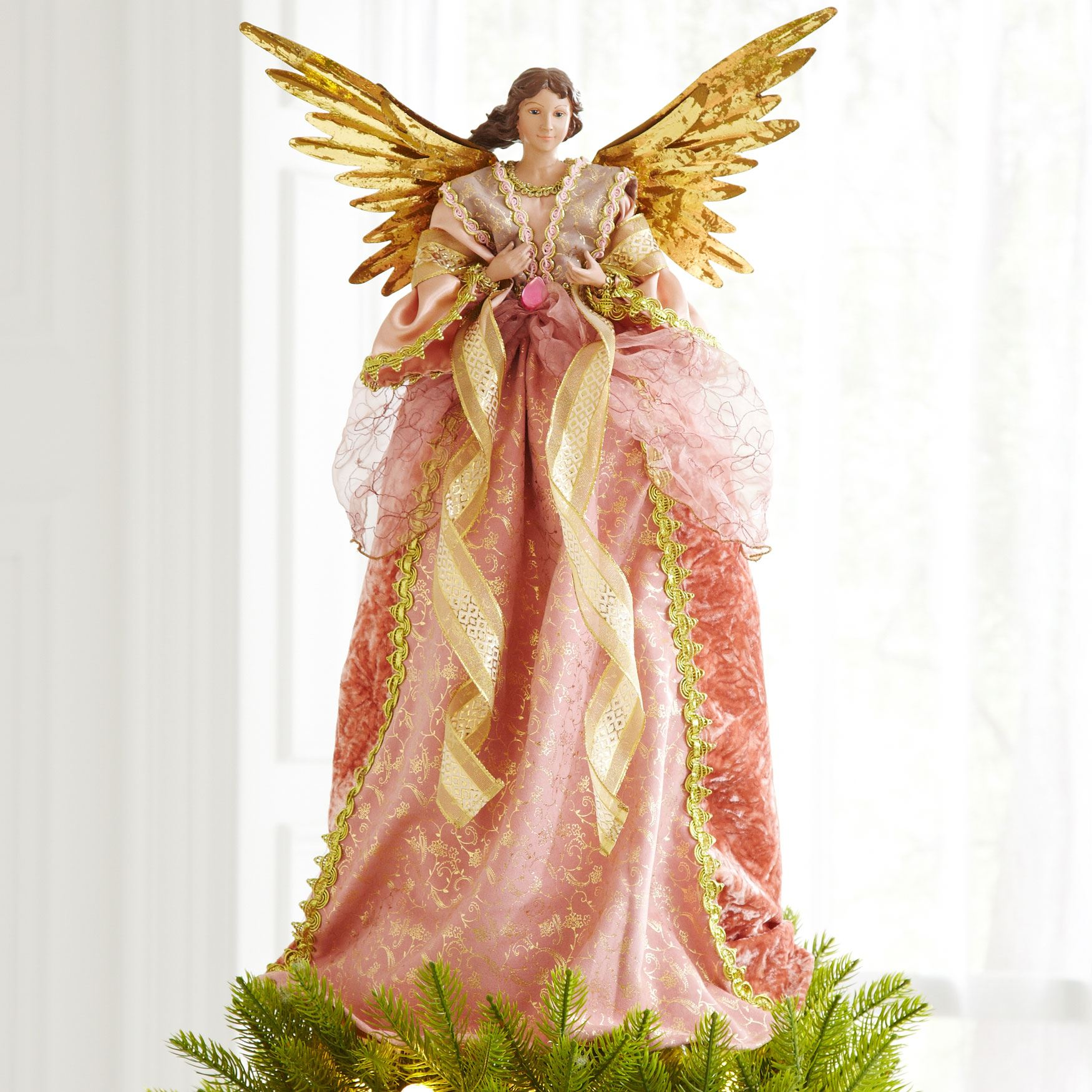 romantic angel tree topper pink gold - Angel Topper For Christmas Tree