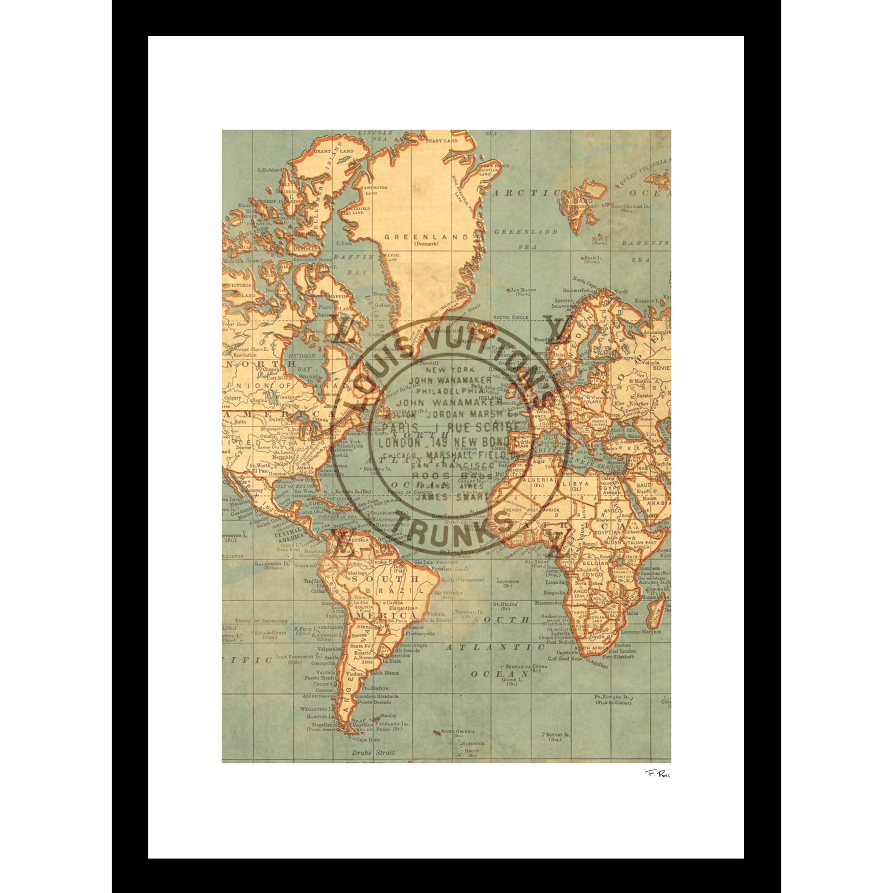 "Louis Vuitton Map Beige 14"" x 18"" Framed Print, GREY"