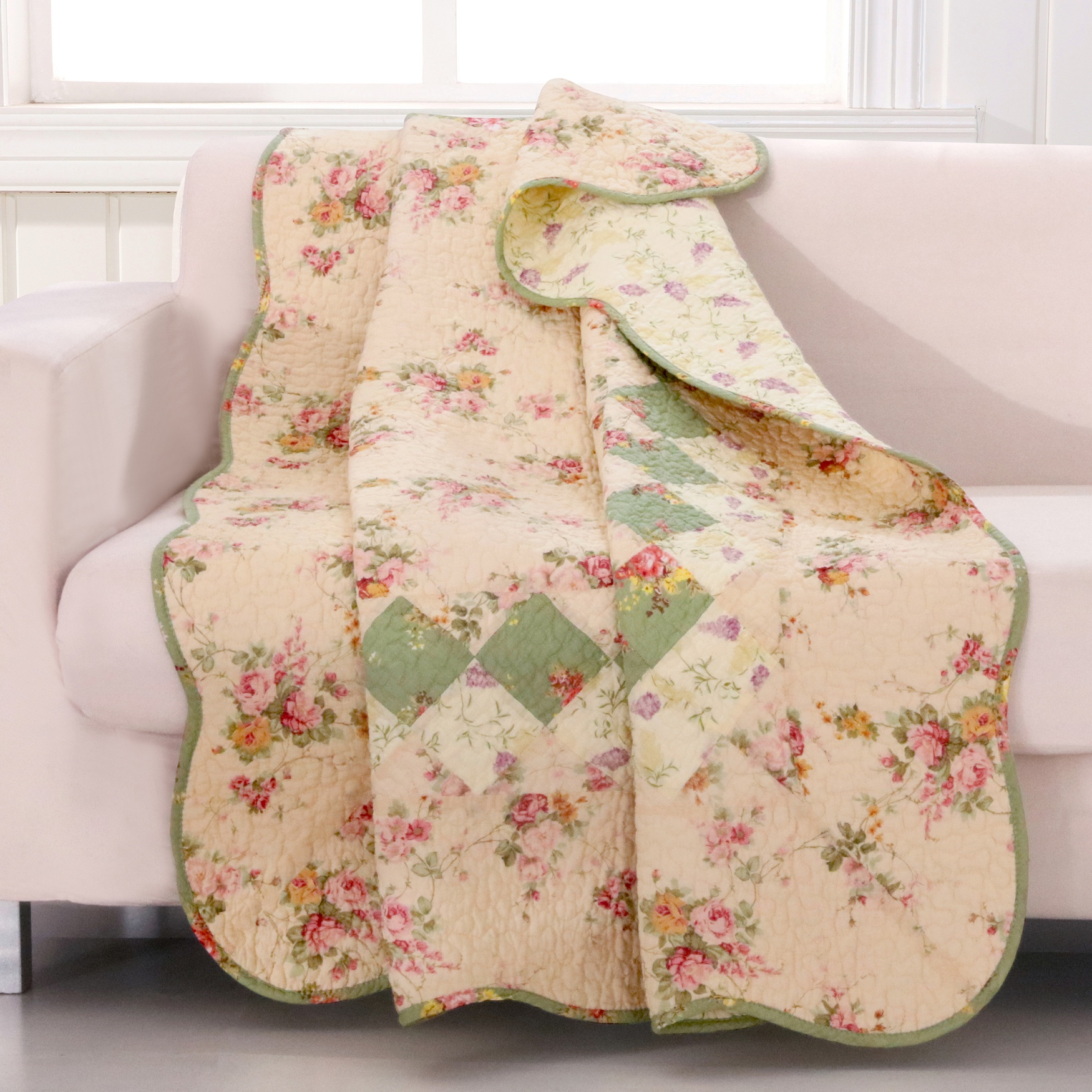 Greenland Home Fashions Bliss Quilted Patchwork Throw Blanket, IVORY