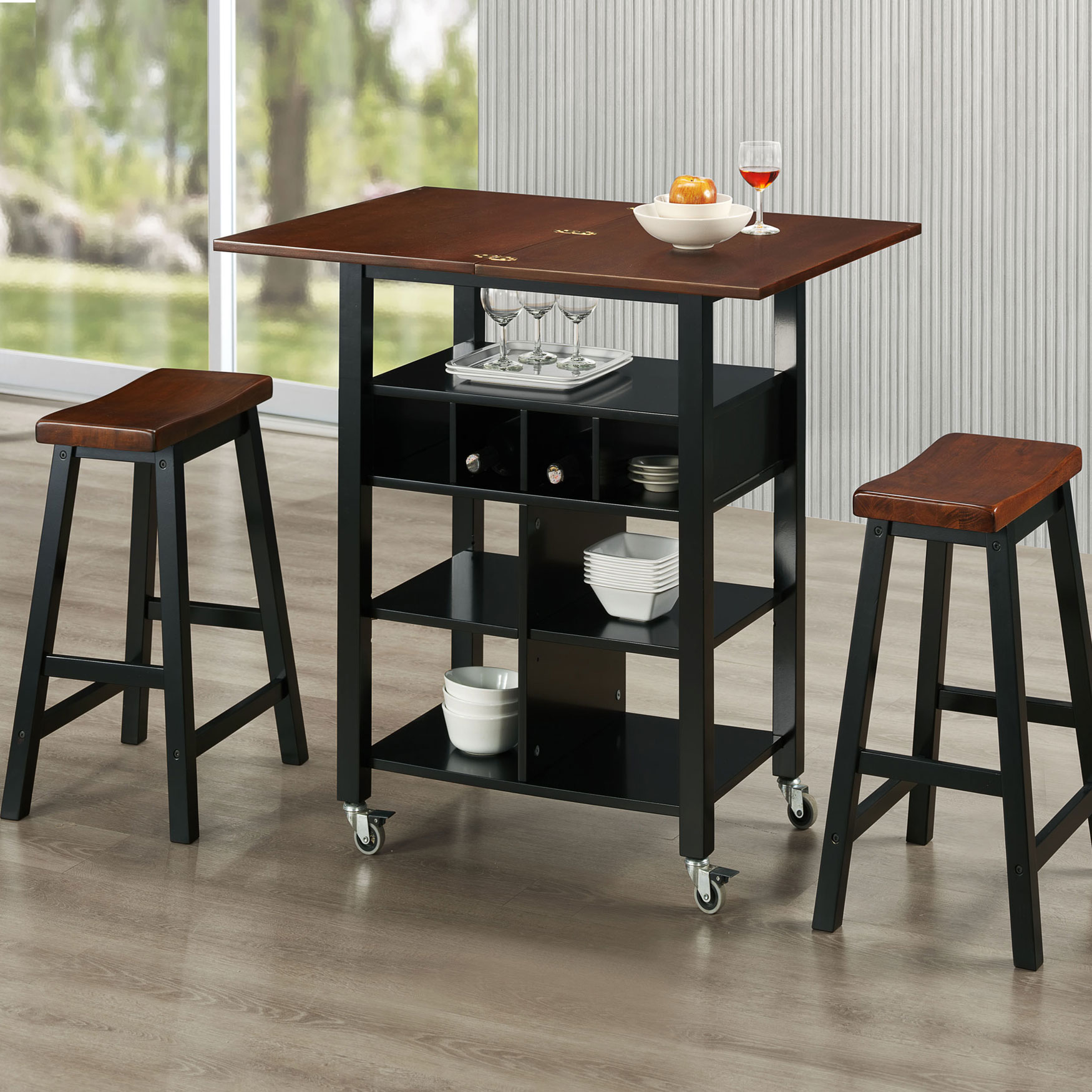 Kitchen Island and Stools Set, BLACK MAHOGANY