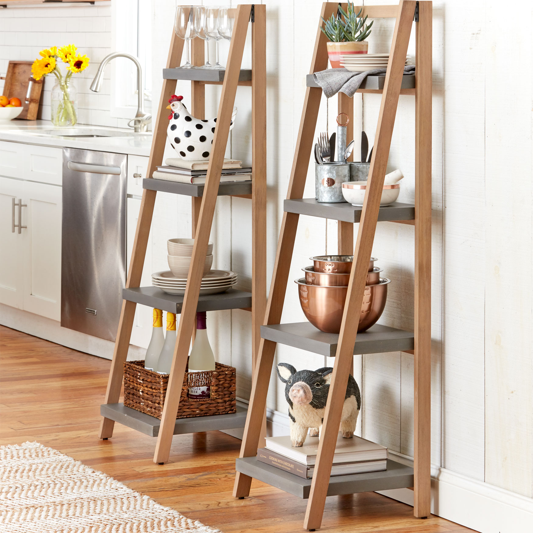 Eli Standing Ladder Shelf, GRAY