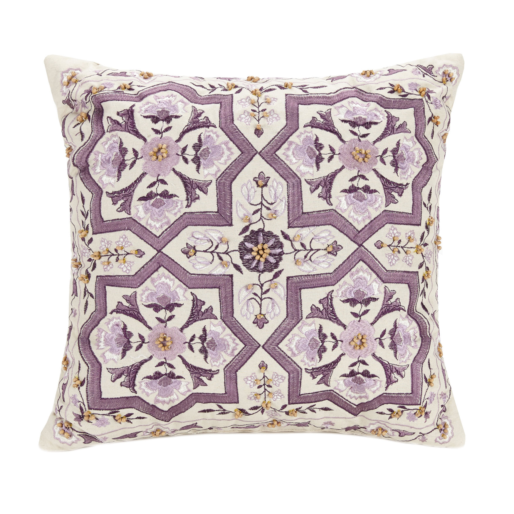 "Jessica Simpson Jacky 16"" Sq. Beaded Pillow, PURPLE"