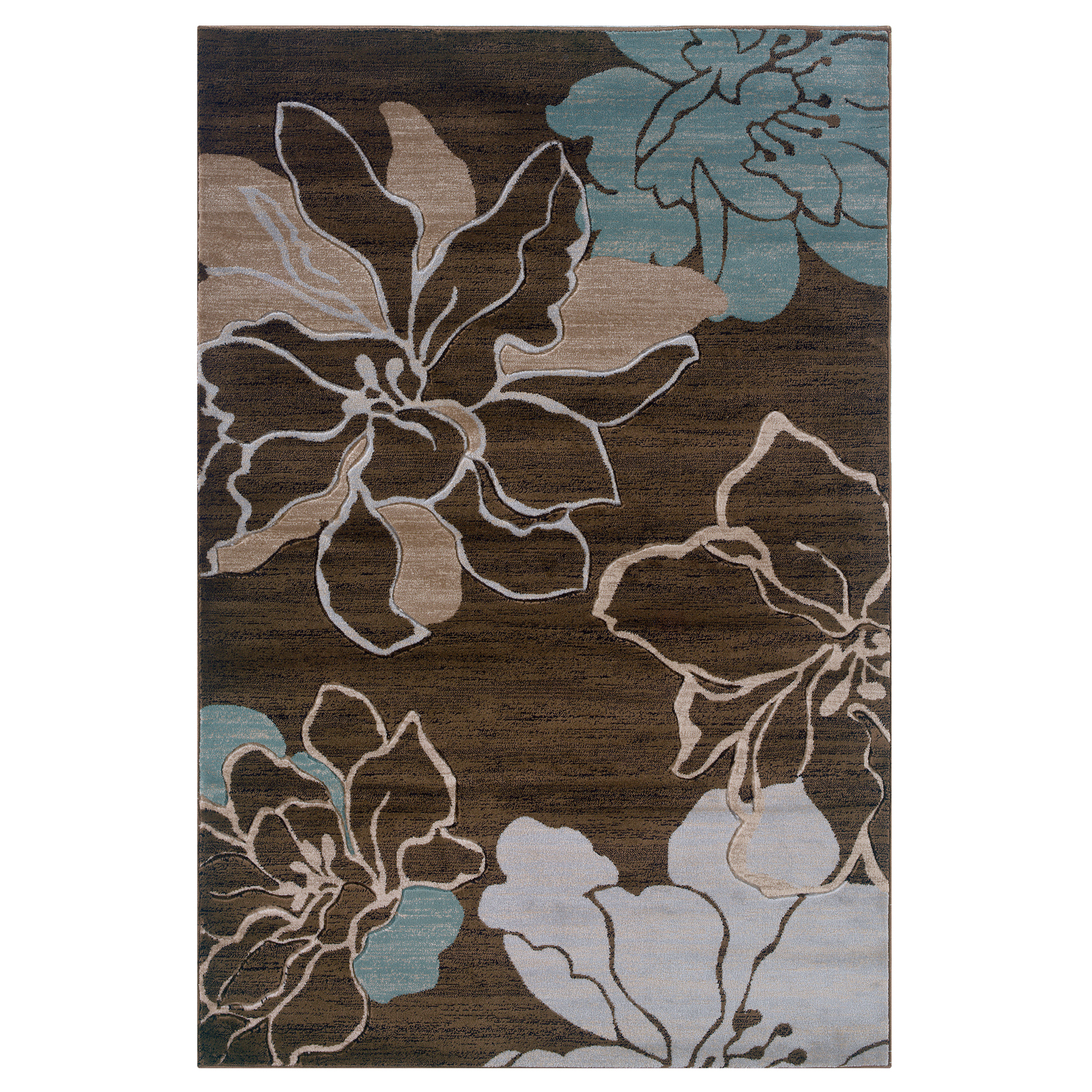 Milan Chocolate/Aqua 5'X8' Area Rug, BROWN