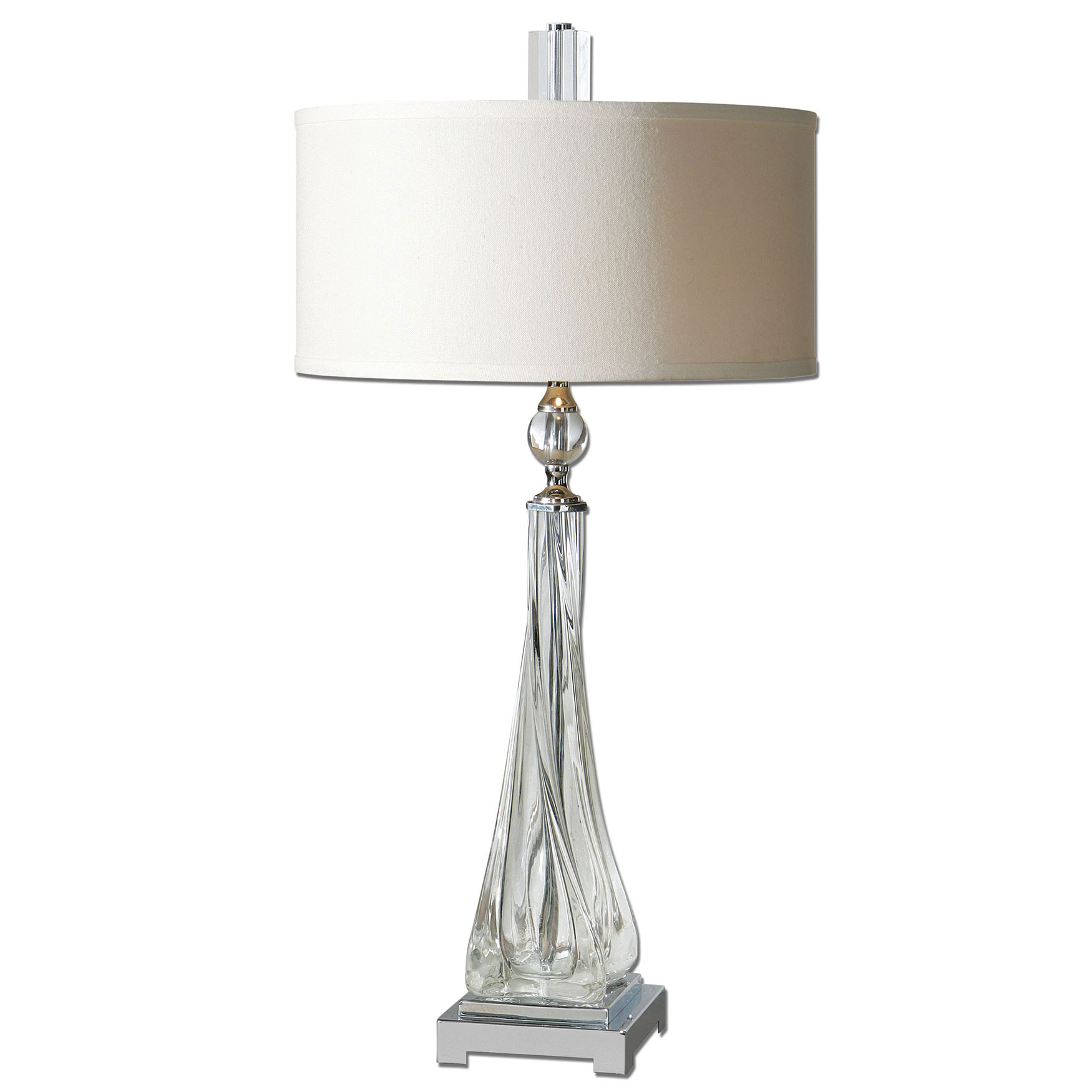 Grancona Twisted Glass Table Lamp, NICKEL