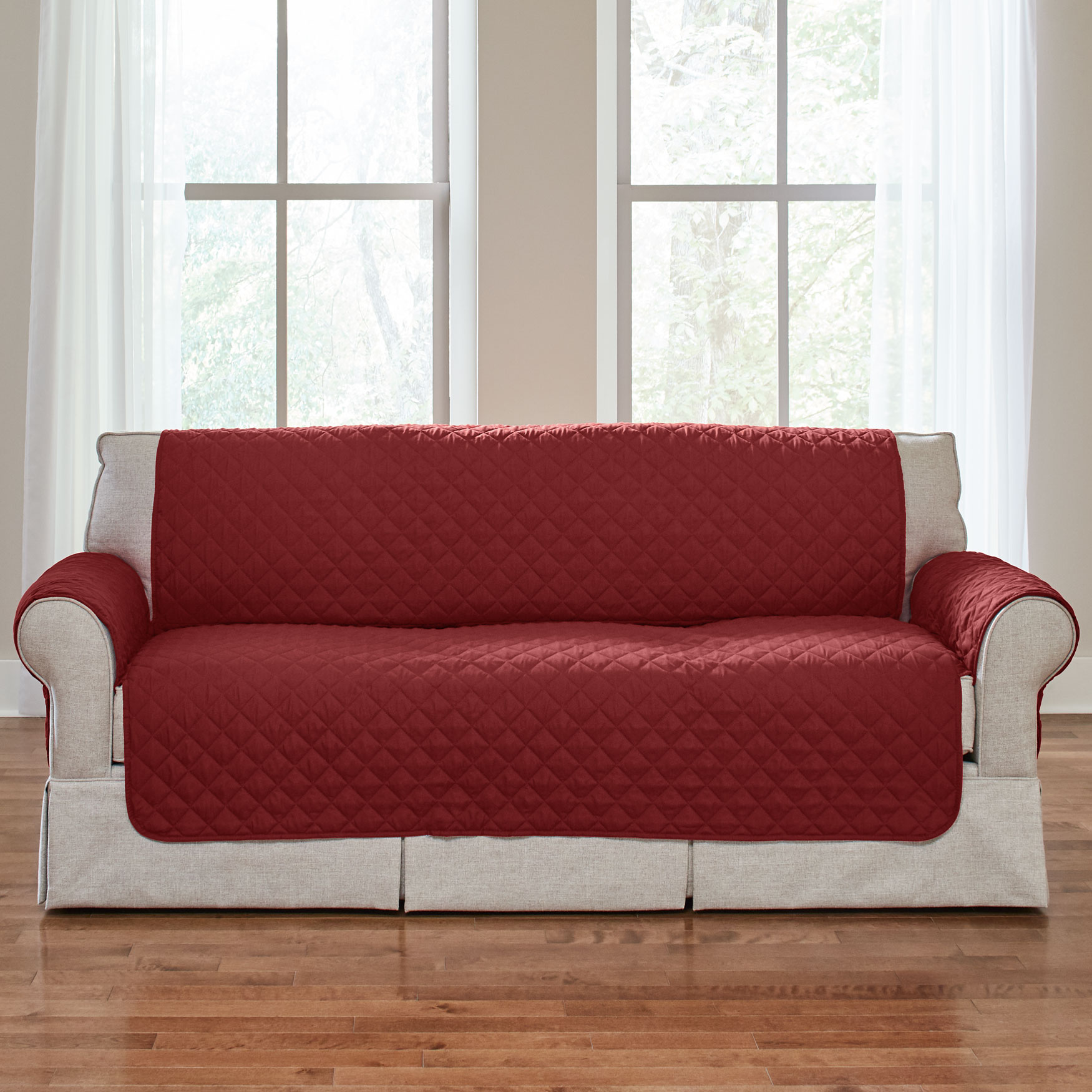 Bh Studio Water Repellent Microfiber Sofa Protector Merlot