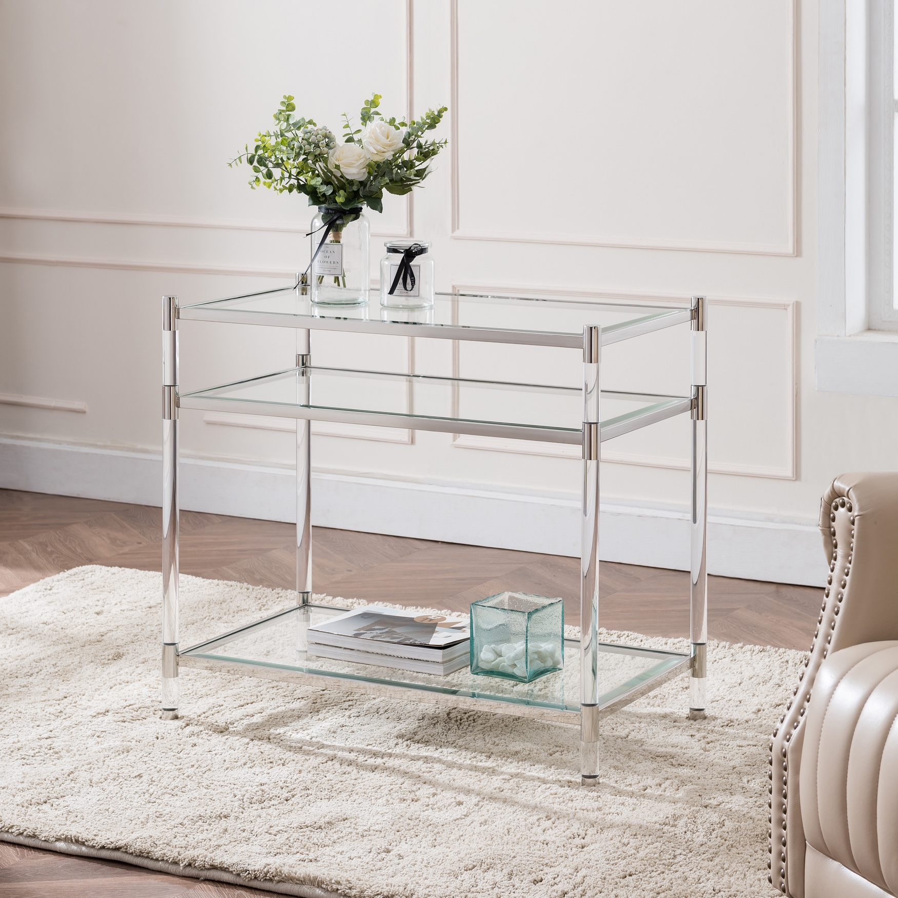 Carling Tall Acrylic Accent Table, SILVER